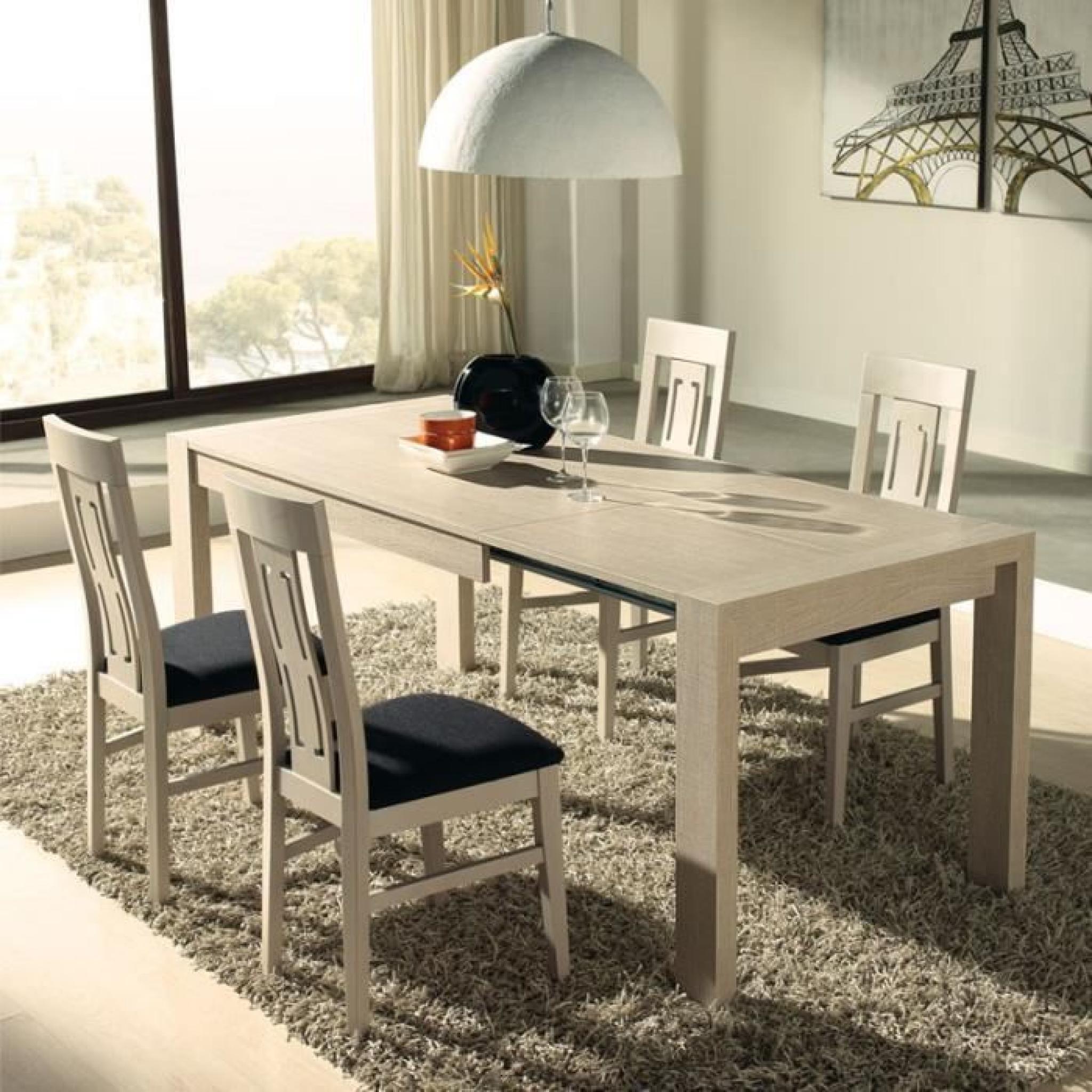 Ensemble Table à allonges & Chaises décor chêne clair - AFIA ...