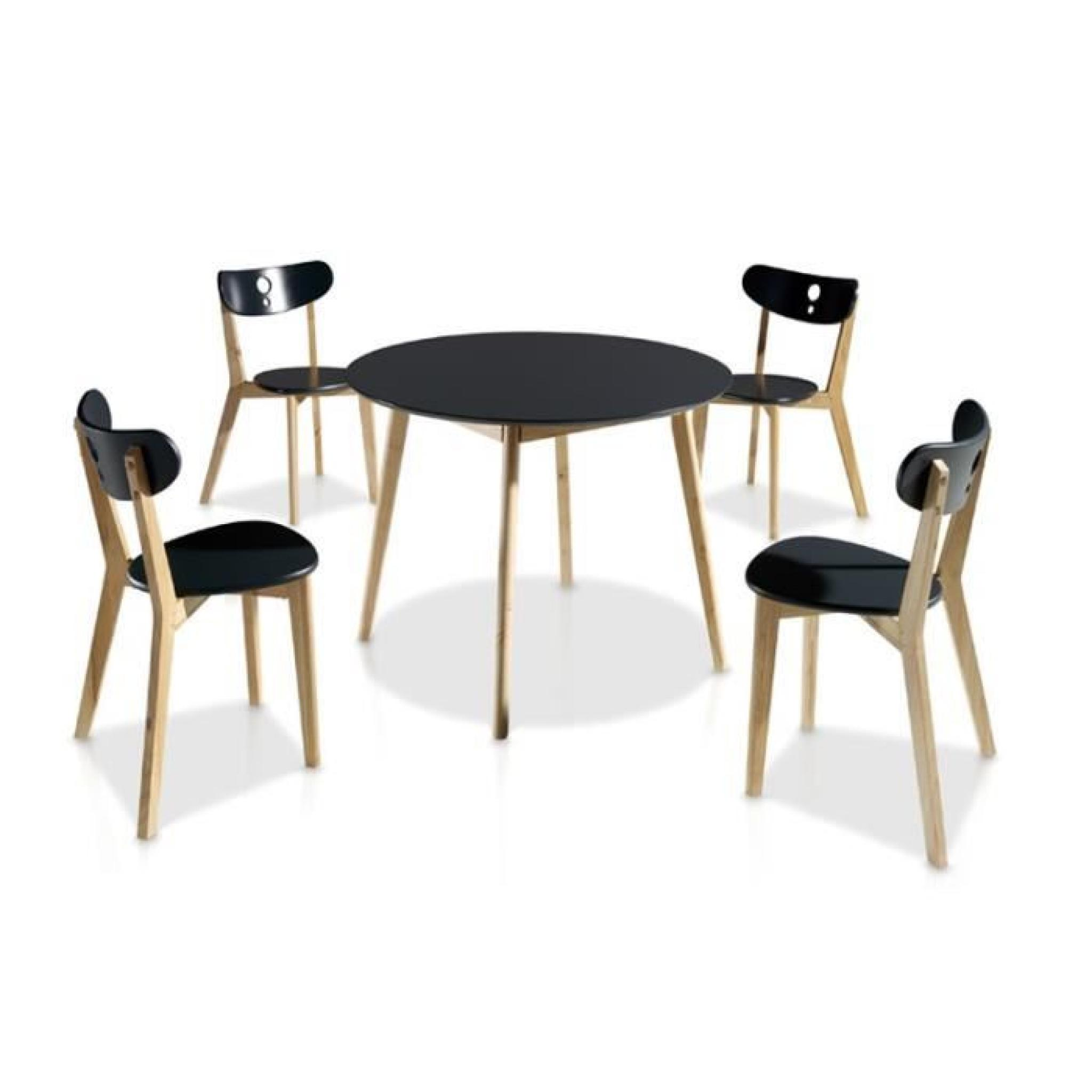 Ensemble Table Chaises Noir Daia Diametre 100 X H 73 Cm