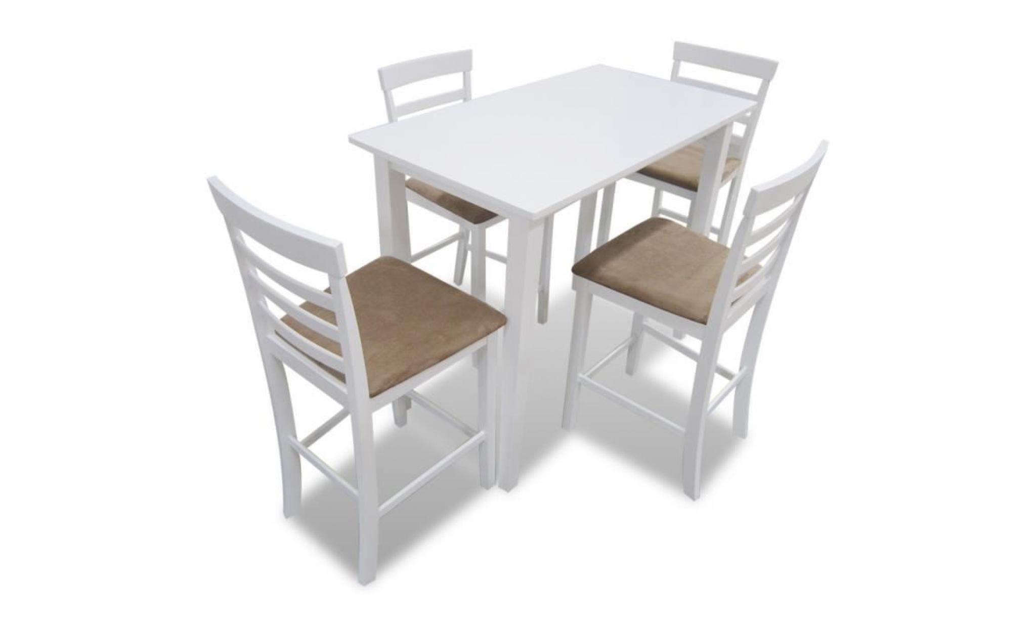 ensemble table et 4pcs chaises de cuisine salle à manger bar tabourets cadre blanc + siège beige