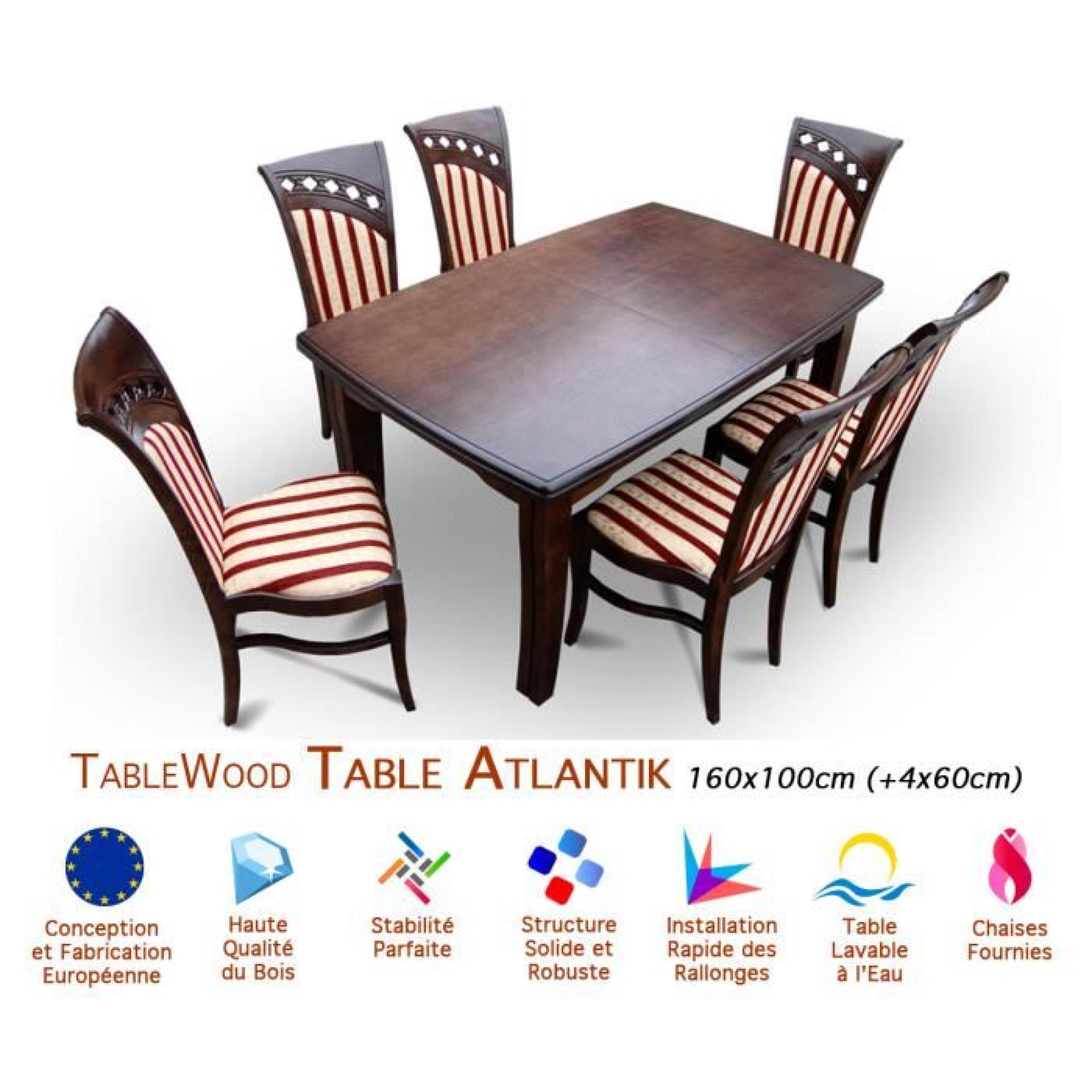 Ensemble table extensible et 6 chaises tablewood atlantik for Table 6 chaises pas cher