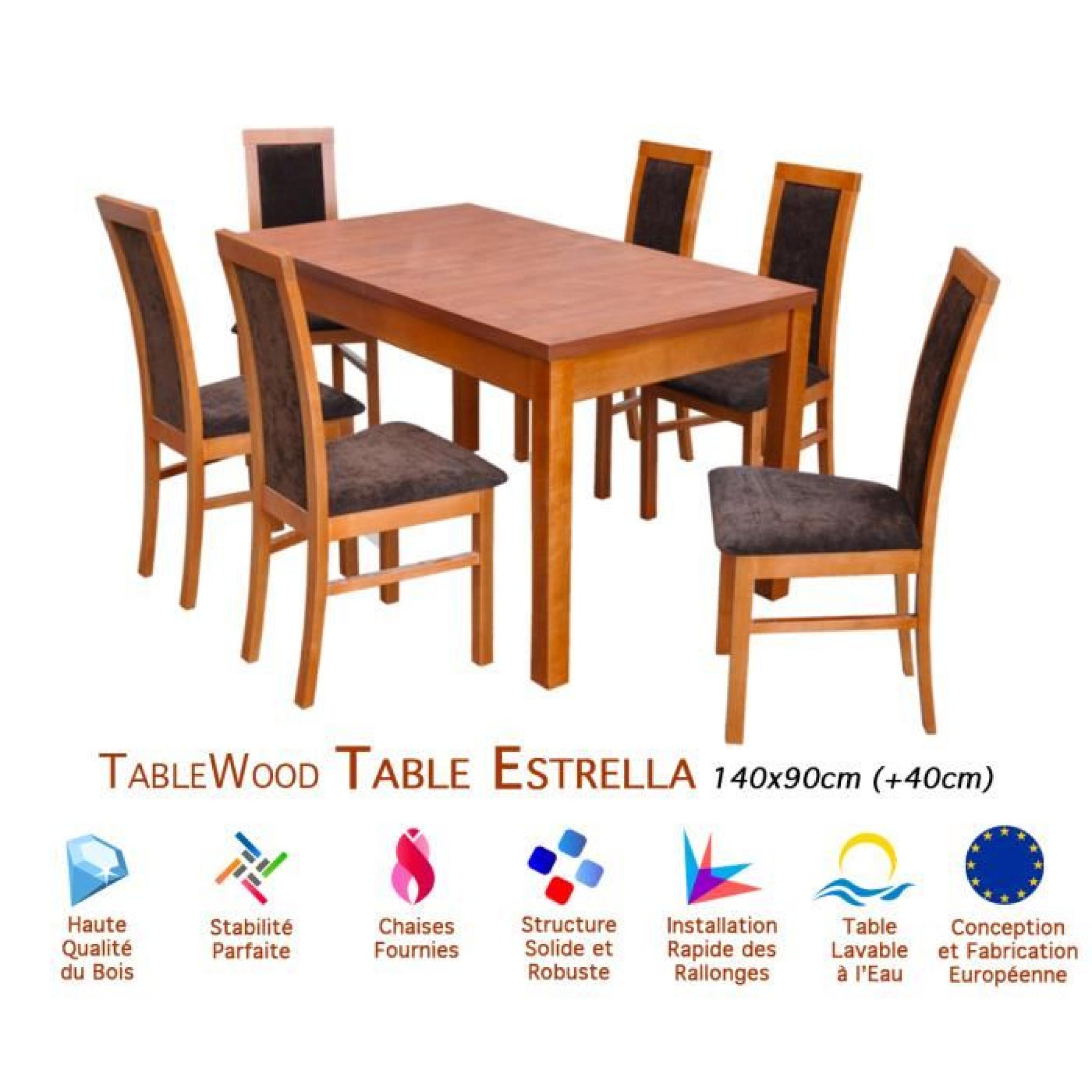 Ensemble table extensible et 6 chaises tablewood estrella for Ensemble table chaise salle manger pas cher