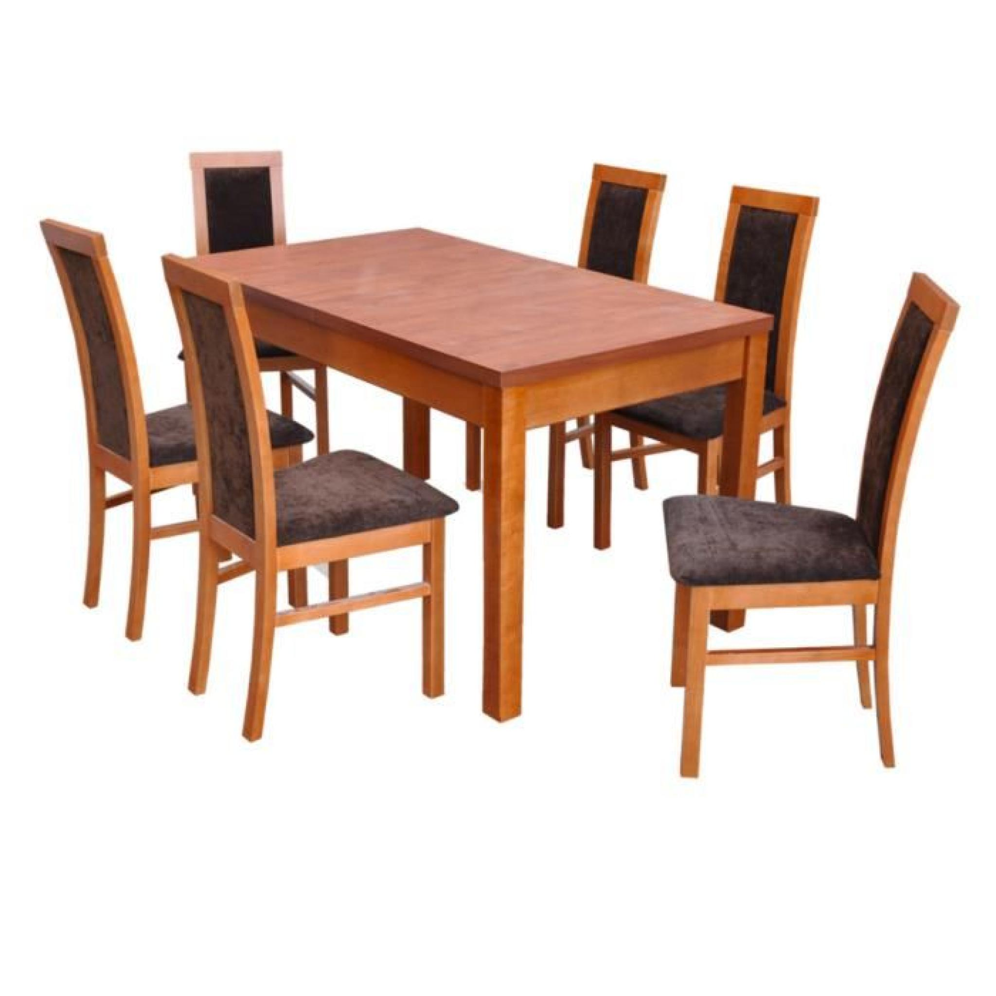 Ensemble table extensible et 6 chaises tablewood estrella for Ensemble table et 6 chaise salle a manger