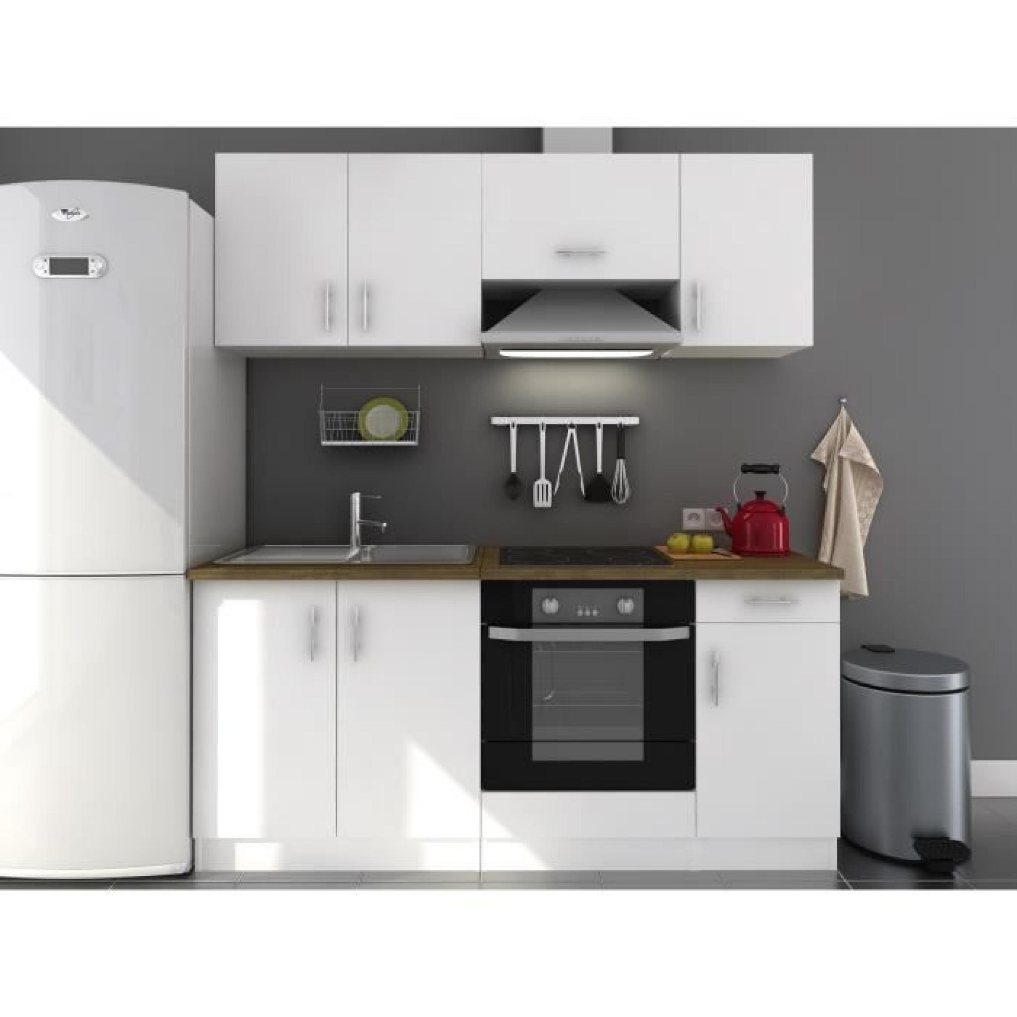 Evo cuisine compl te 1m80 blanc laqu haute brillance for Cuisine complete design