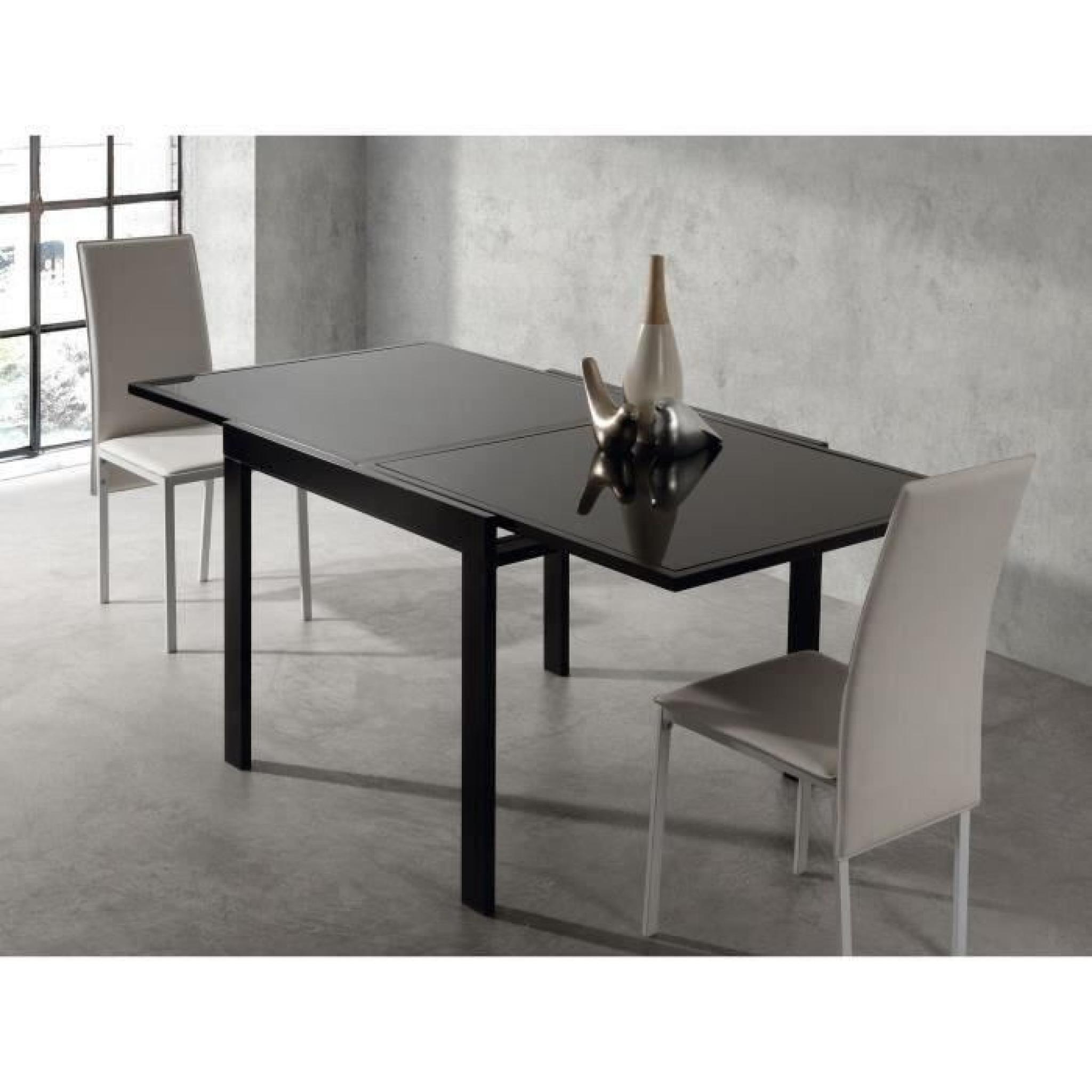 exit table extensible noire 90 180cm en verre achat vente table salle a manger pas cher. Black Bedroom Furniture Sets. Home Design Ideas