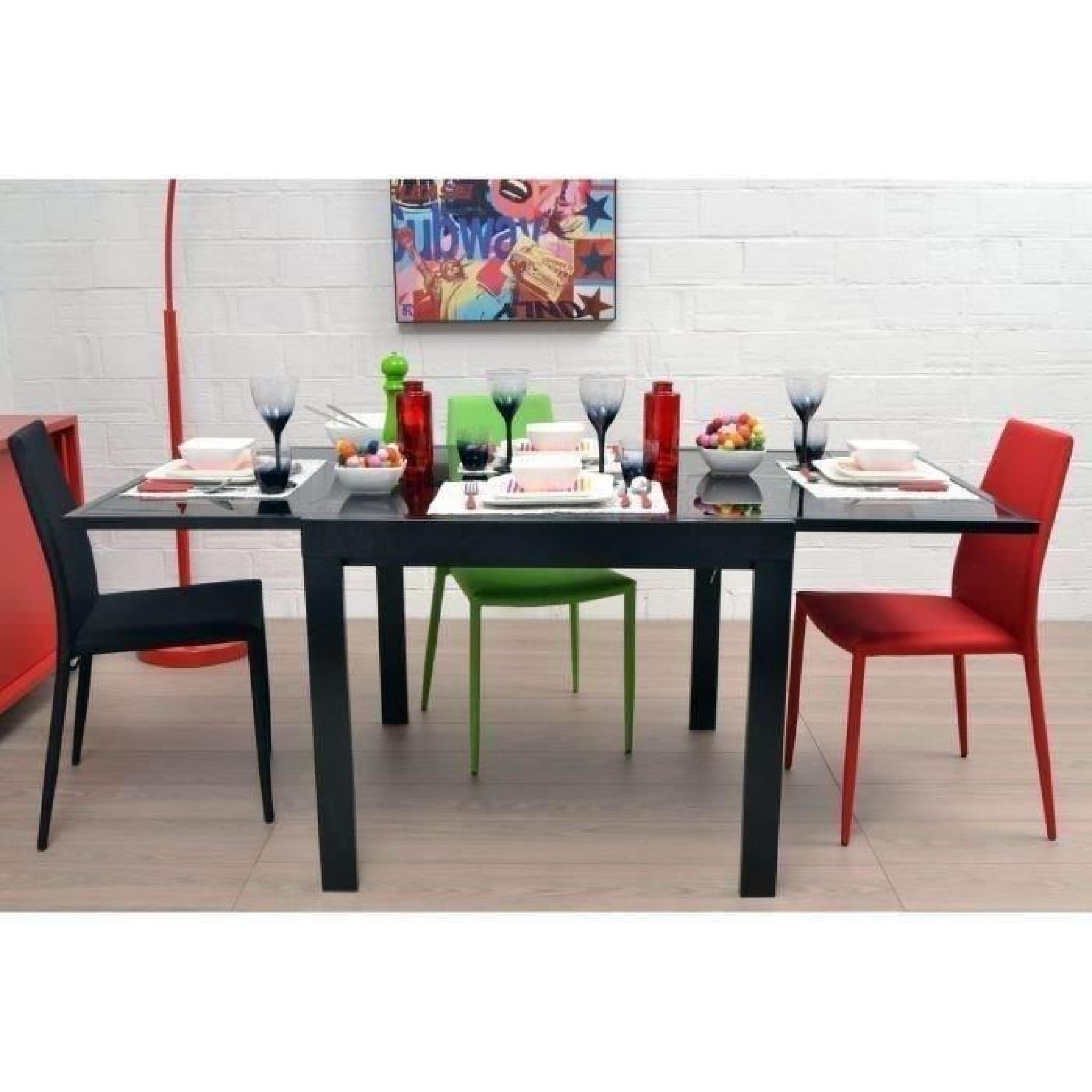 exit table extensible noire 90 180cm en verre achat vente table salle a manger pas cher. Black Bedroom Furniture Sets. Home Design Ideas