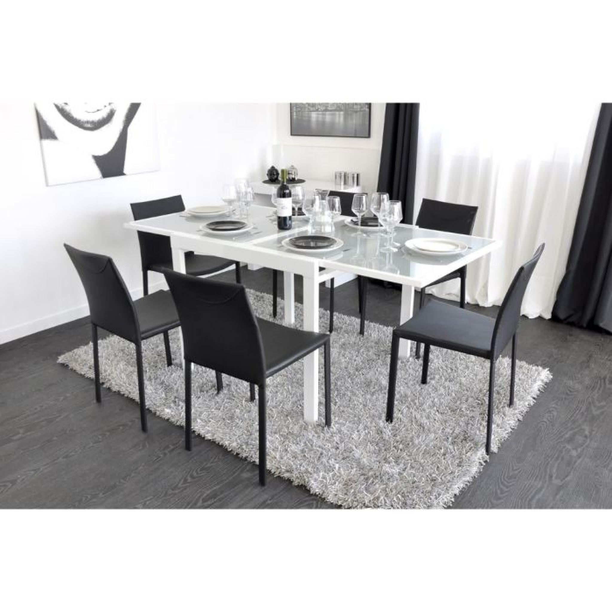Extend table extensible blanche 90 180cm achat vente for Table carree 140x140 salle manger