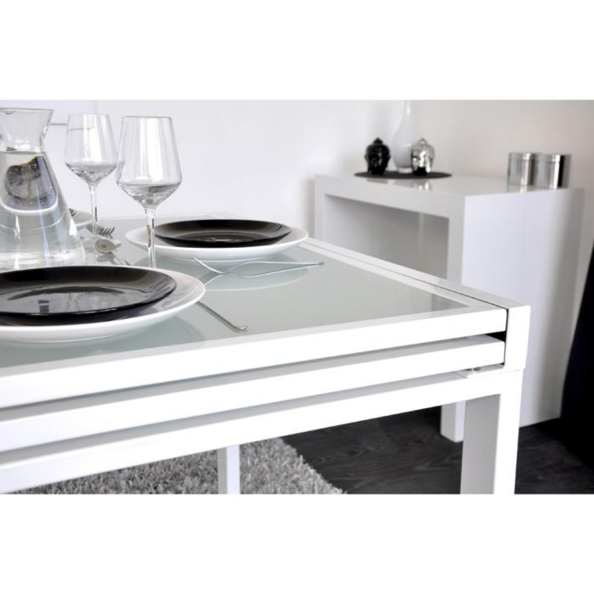Extend table extensible blanche 90 180cm achat vente for Table design blanche