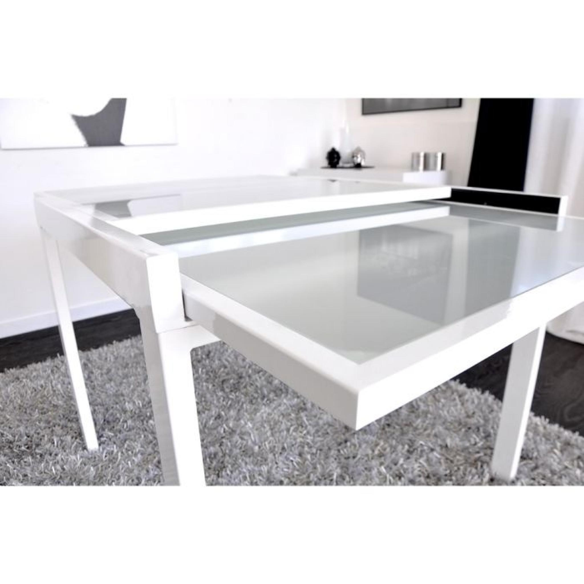 Extend table extensible blanche 90 180cm achat vente for Table verre blanc extensible