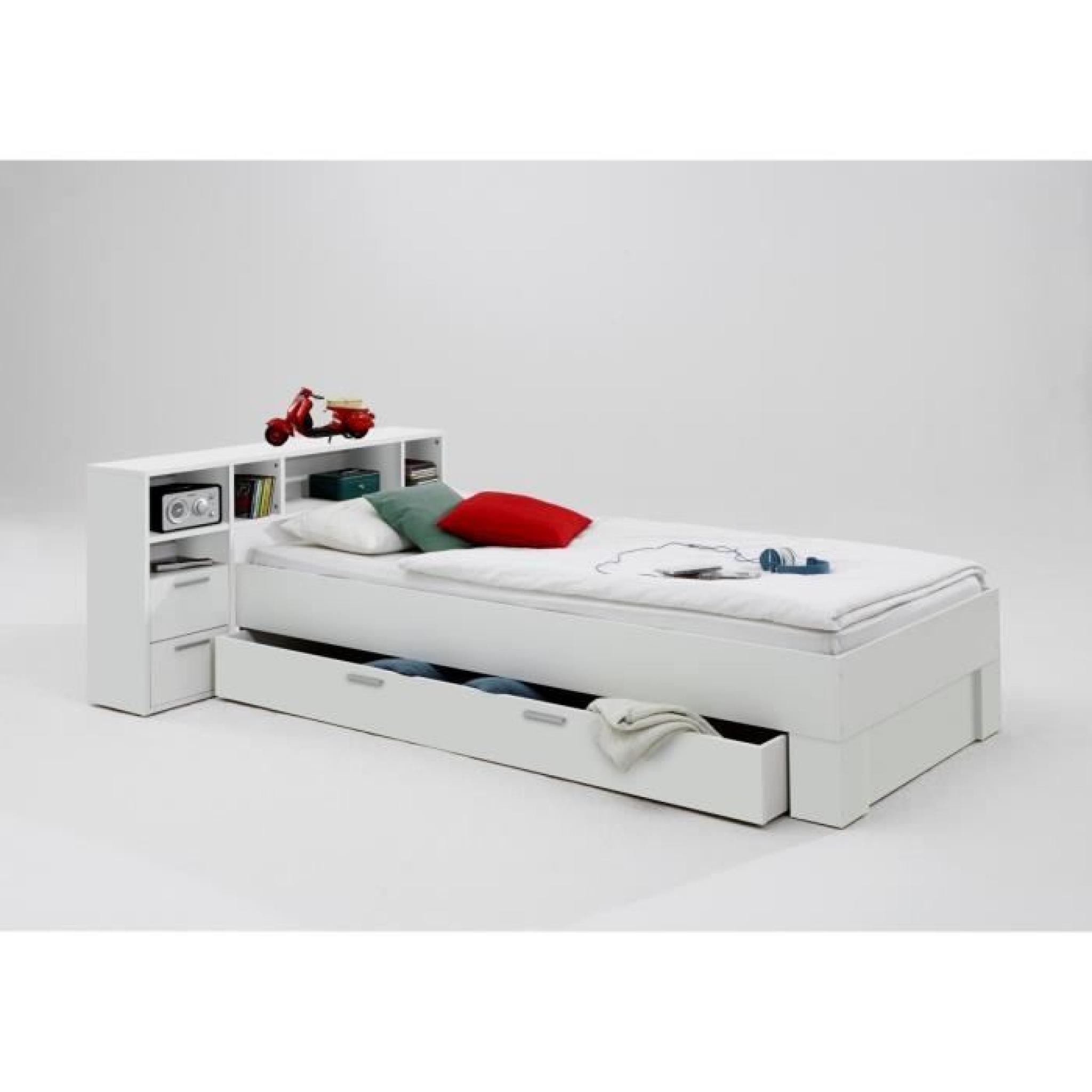 FABIO Lit enfant 90x200 cm blanc - Achat/Vente lit pas cher - Couleur-et-design.fr
