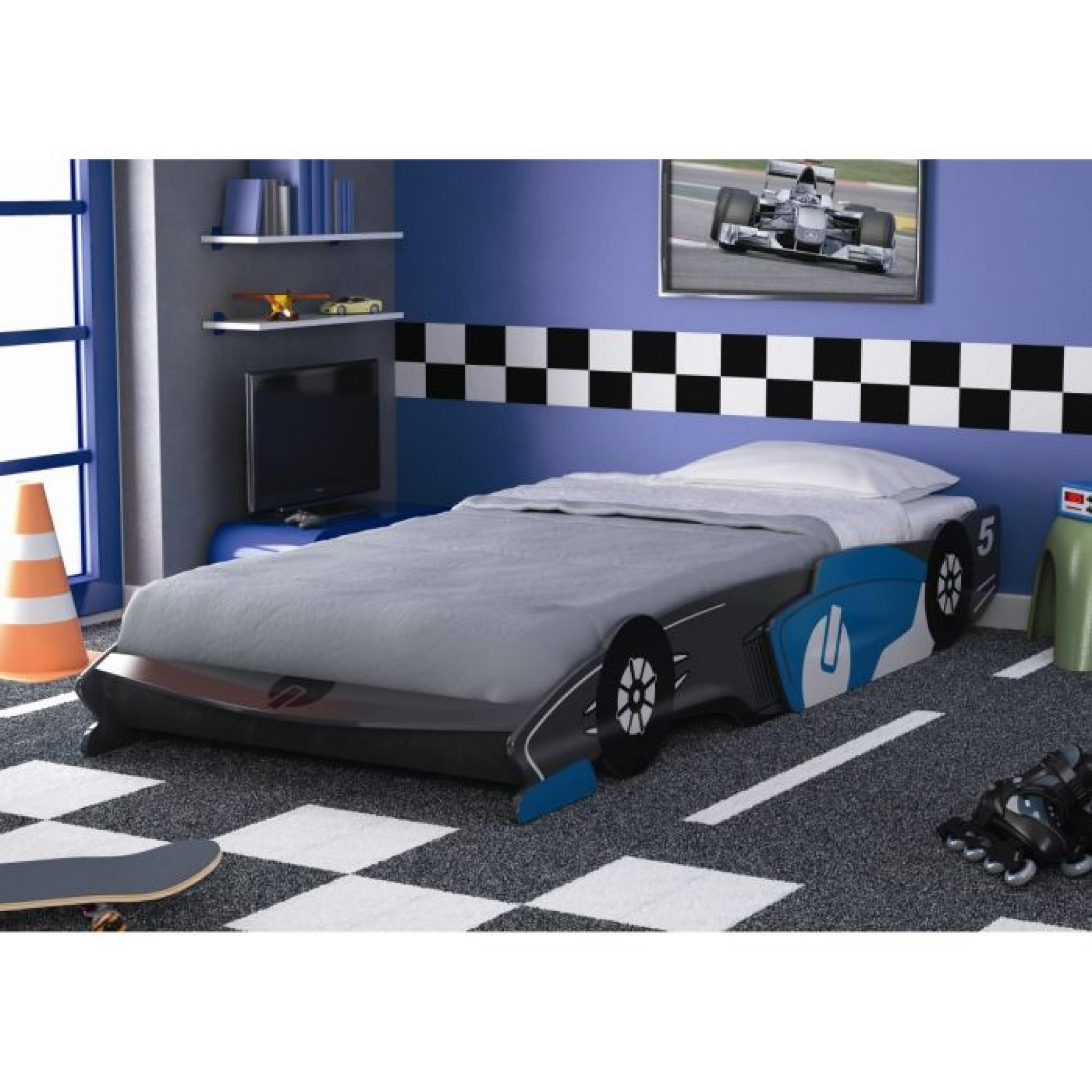 fast lit enfant voiture gris et bleu 90x190 200cm achat. Black Bedroom Furniture Sets. Home Design Ideas