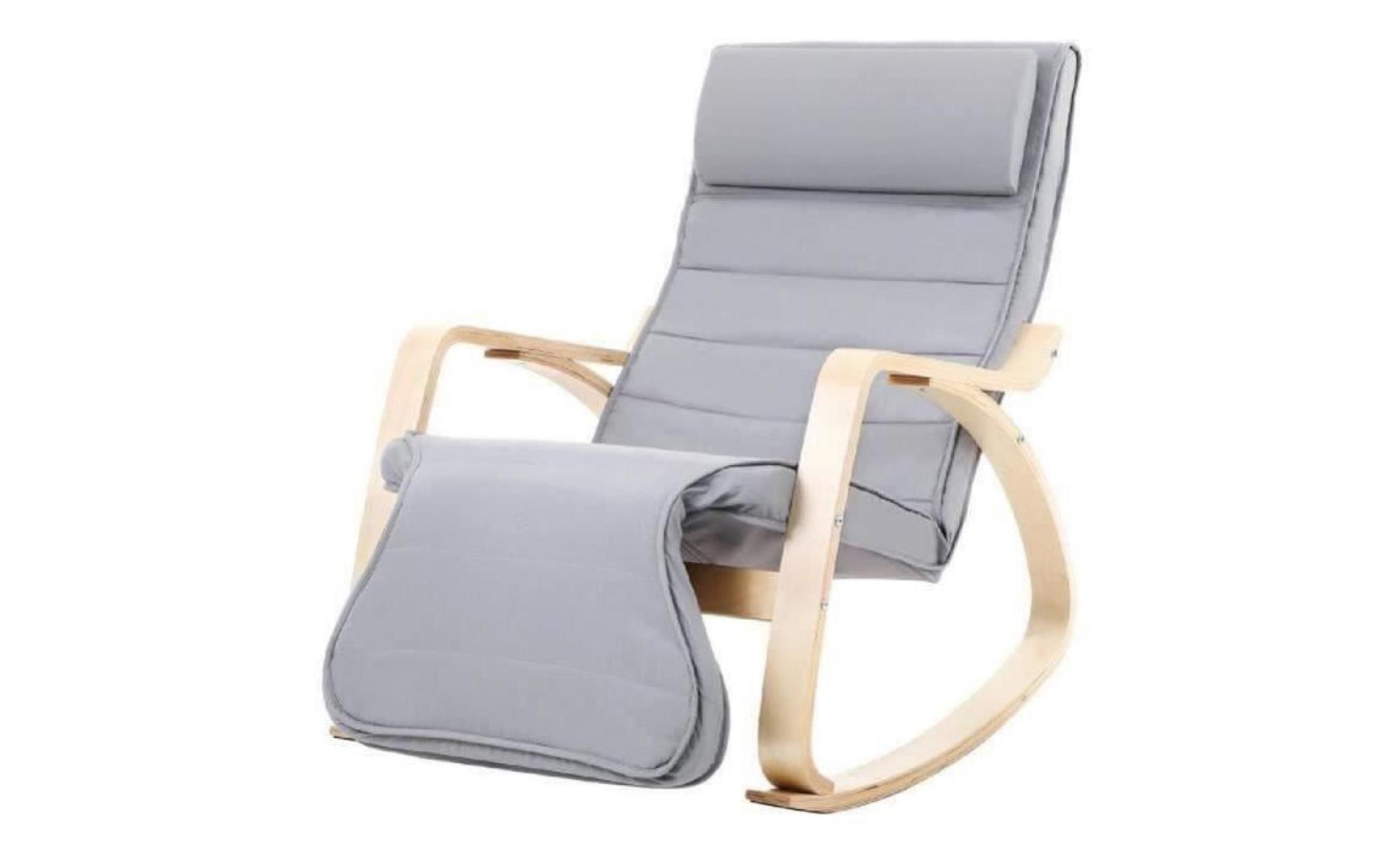 Songmics Fauteuil A Bascule Relaxant Rocking Chair Avec Repose Pied