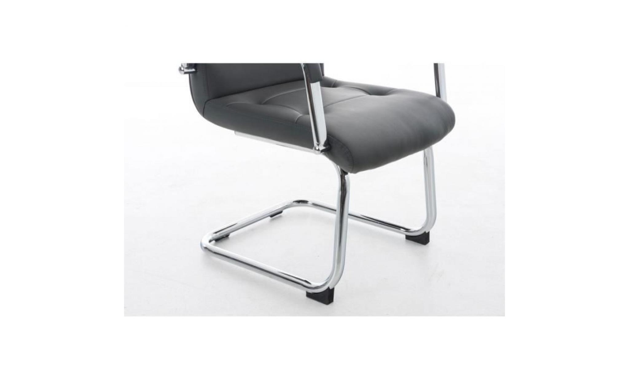 fauteuil chaise de bureau ergonomique sans roulette en pu crème bur7