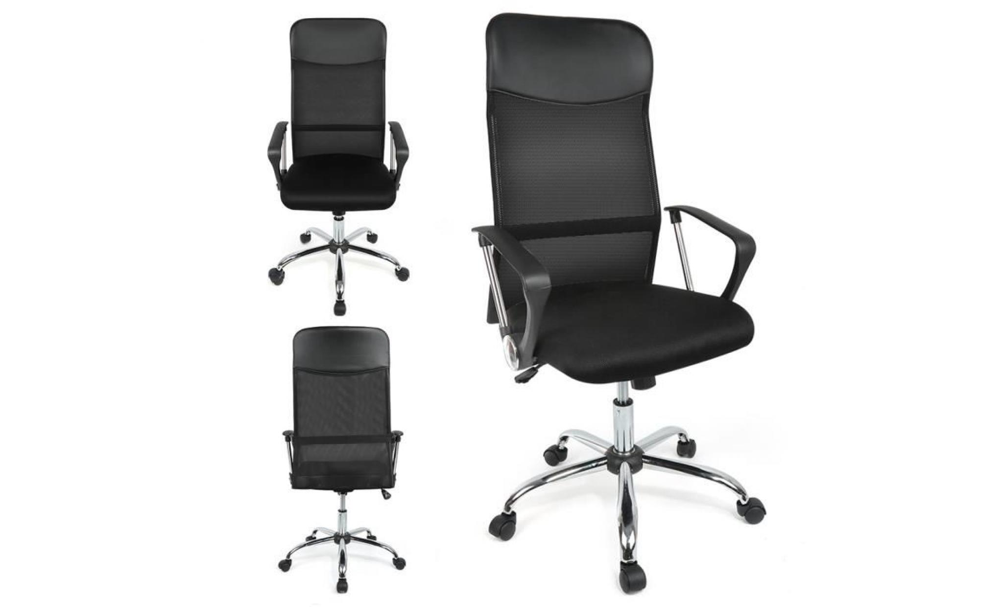 Bureau Ergonomique Chaise Design De Moderne Fauteuil Inclinable Noir EH2IWD9