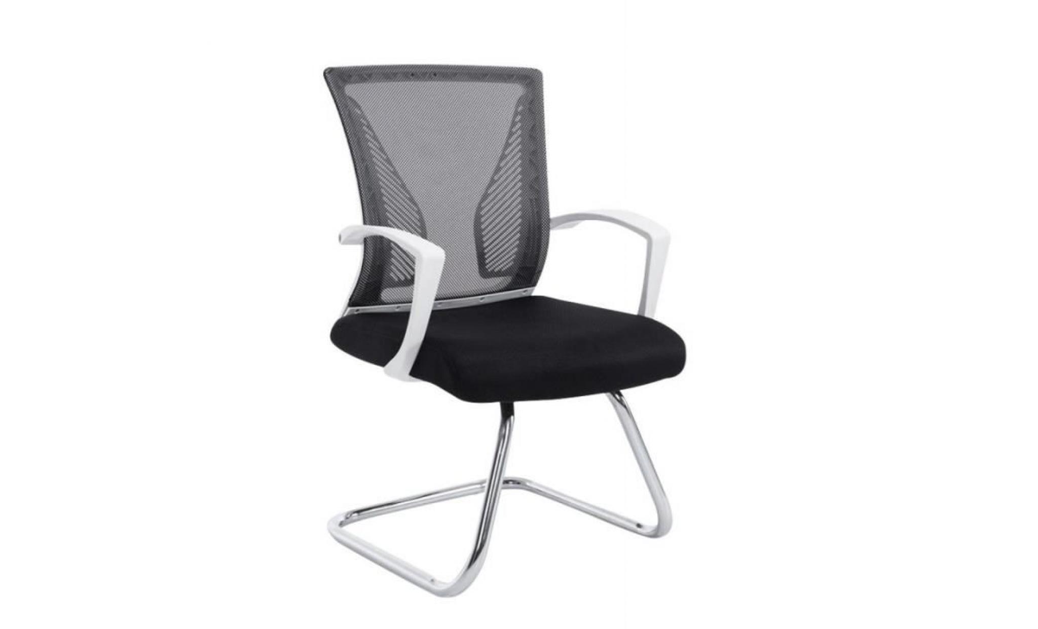 Fauteuil chaise de bureau sans roulette noir tissu et métal chromé
