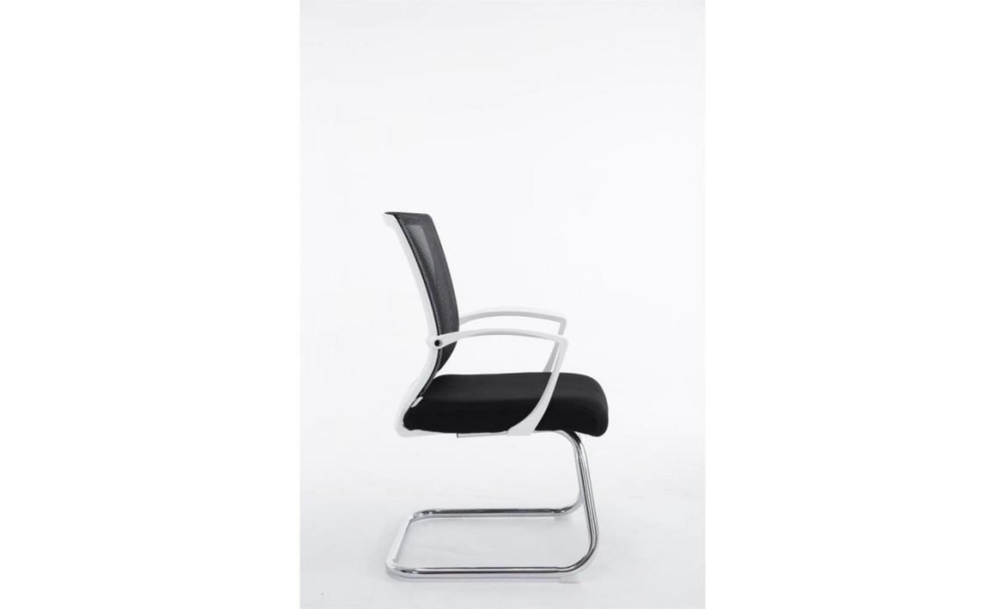 fauteuil chaise de bureau sans roulette noir tissu et métal chromé bur7