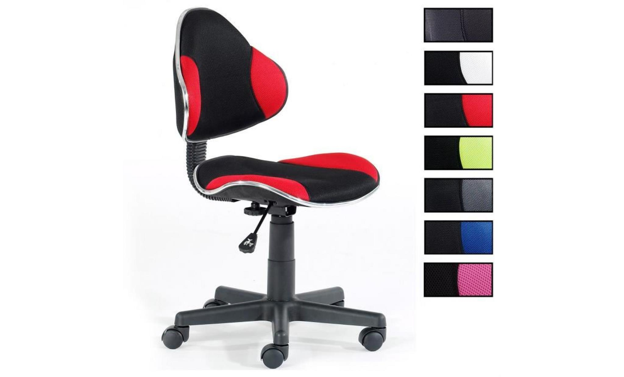 nouveau concept 0e9f3 a985f chaise de bureau pour enfant alondra fauteuil pivotant avec hauteur  réglable, revêtement en mesh noir/rouge