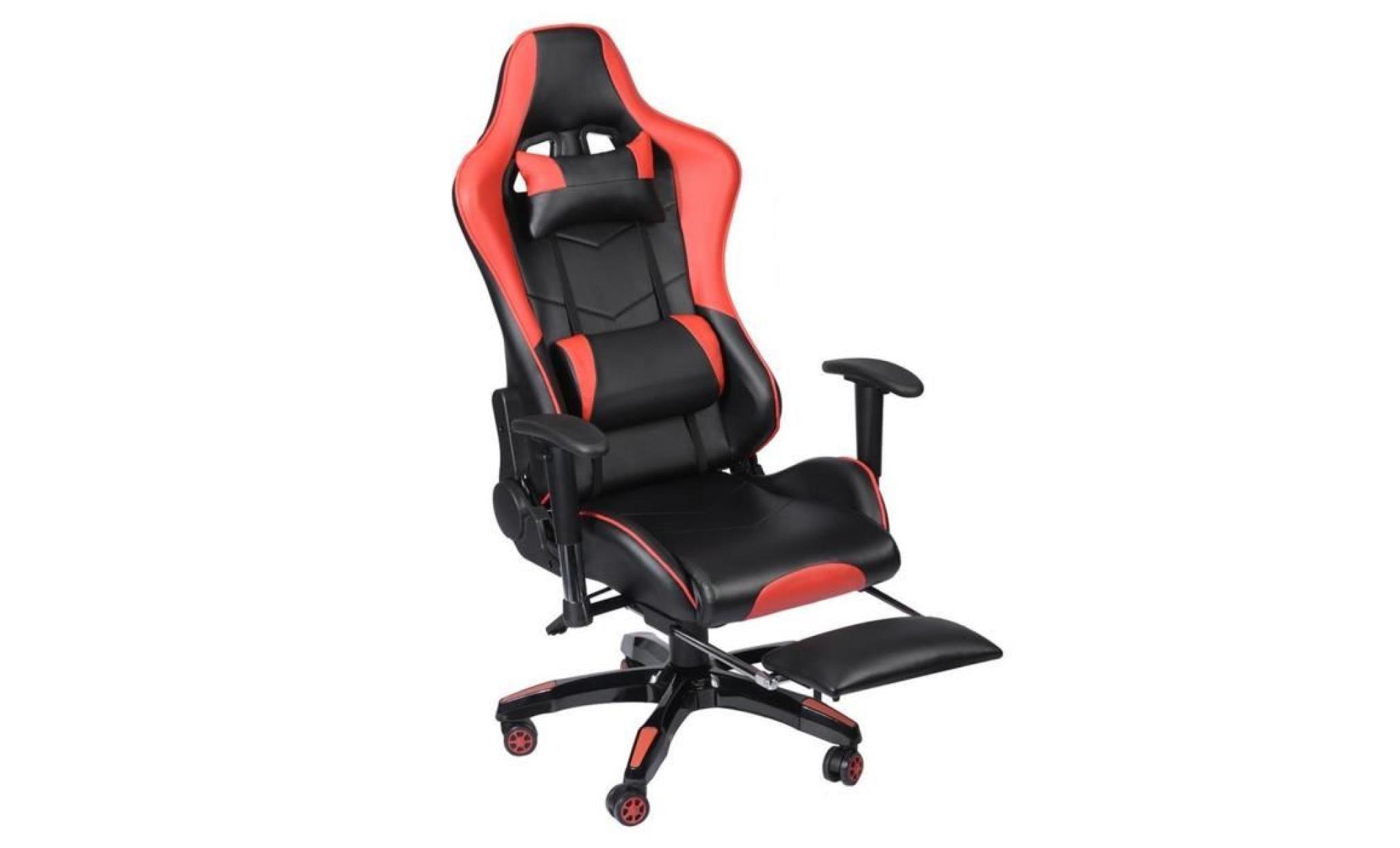 Pubg Rouge Chaise Comfortable Réglable Fauteuil Repose Jeux Pied Gamer Hauteur De Vidéo Avec 0mN8nw