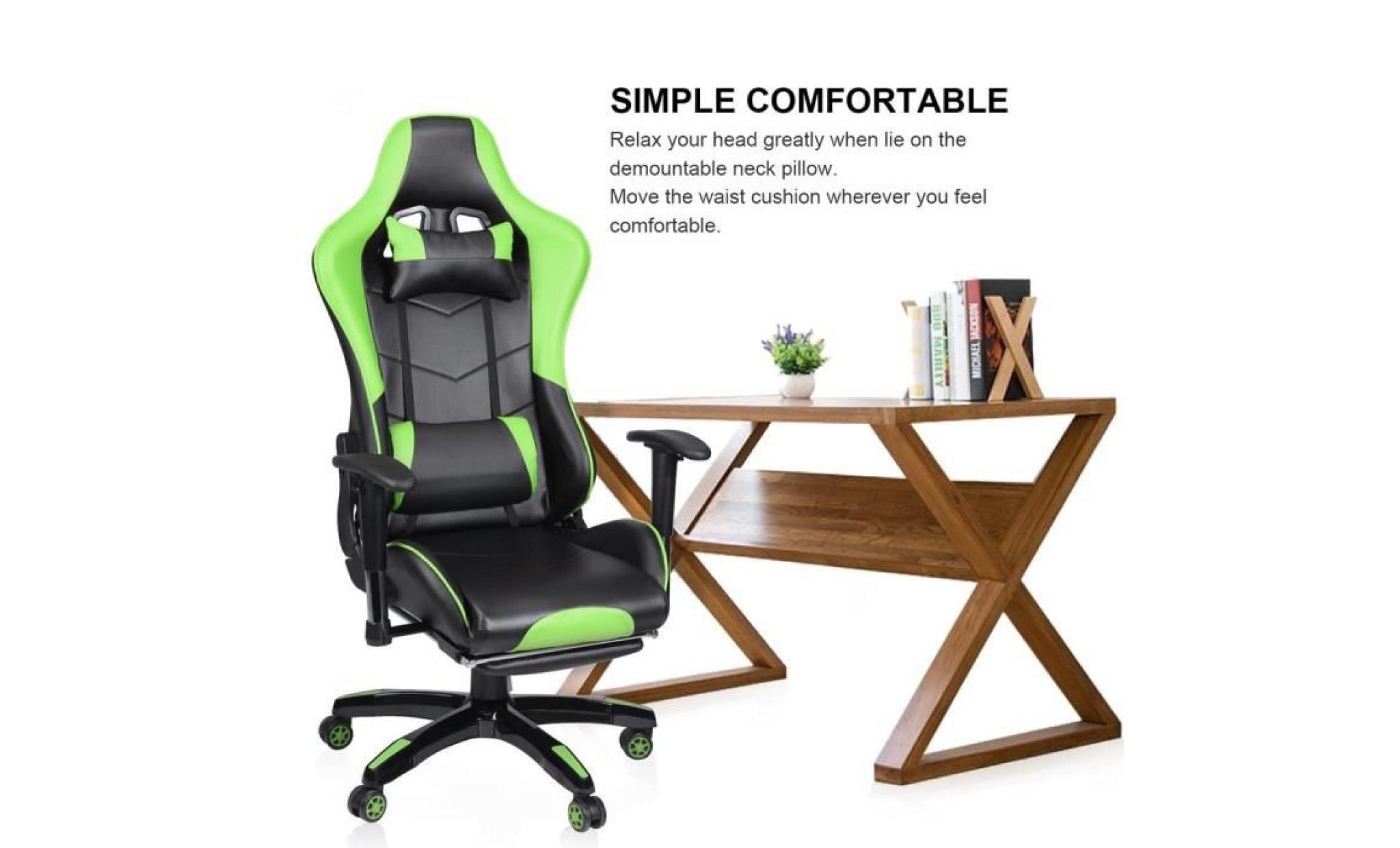 grossiste 06c62 36808 fauteuil gamer façon siège baquet rallye noir et vert avec repose pied siège