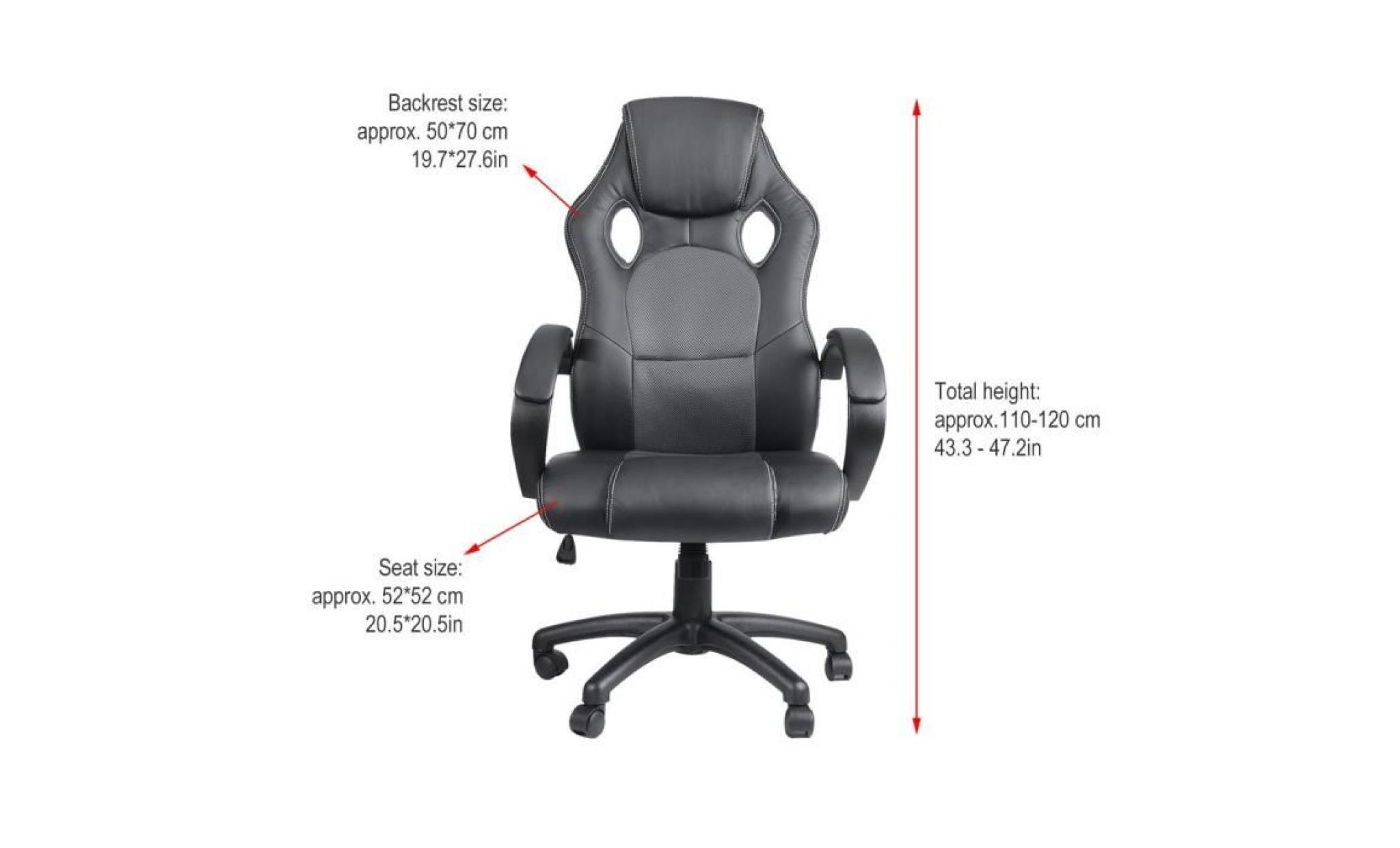 fauteuil gamer réglable hauteur chaise de bureau ergonomique noir gris