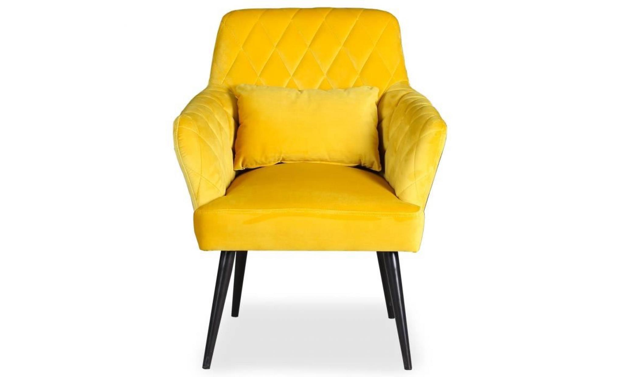 prix le plus bas 70885 b3960 fauteuil scandinave octave velours jaune