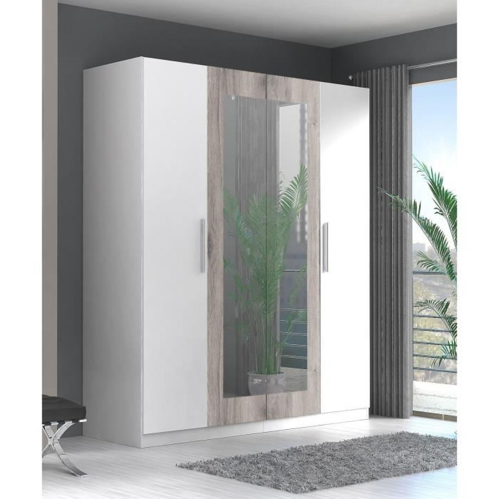 Finlandek armoire de chambre siisti 180 cm blanc et d cor ch ne sable achat vente armoire de for Armoire de chambre design