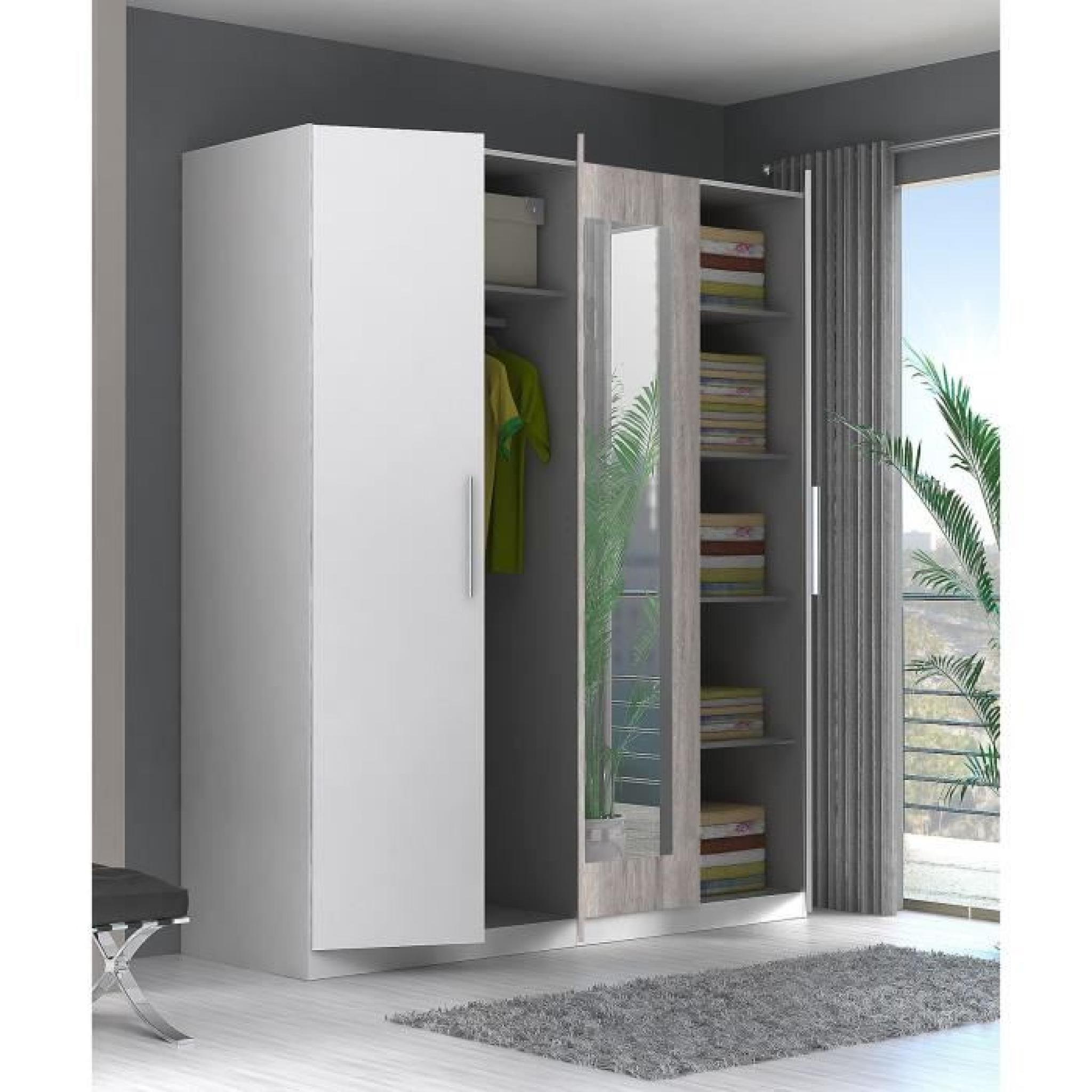 finlandek armoire de chambre siisti 180 cm blanc et d cor ch ne sable achat vente armoire de. Black Bedroom Furniture Sets. Home Design Ideas