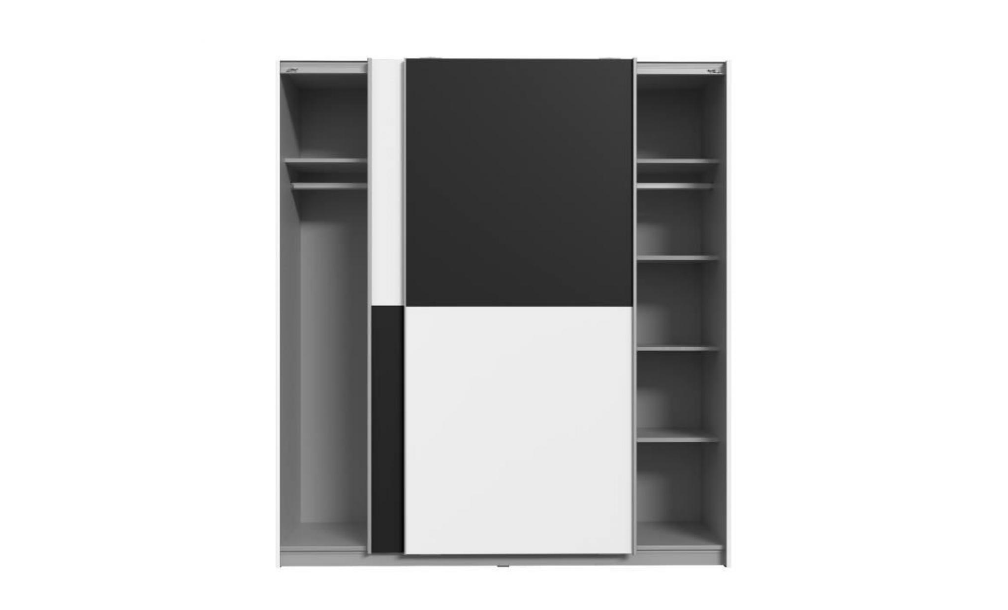 Finlandek Armoire De Chambre Ulos Style Contemporain Blanc Et Noir L 170 3 Cm Achat Vente Armoire Pas Cher Couleur Et Design Fr