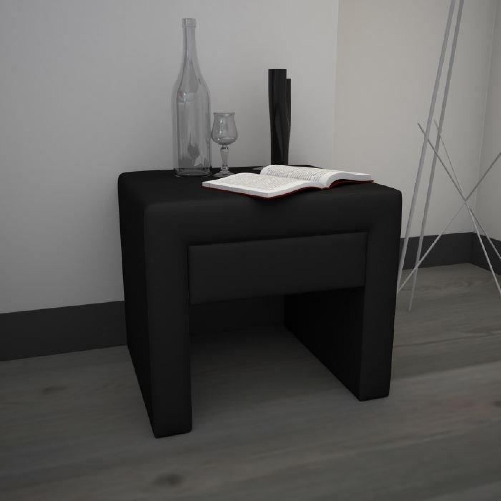 finlandek chevet pass tiroir simili noir achat vente. Black Bedroom Furniture Sets. Home Design Ideas