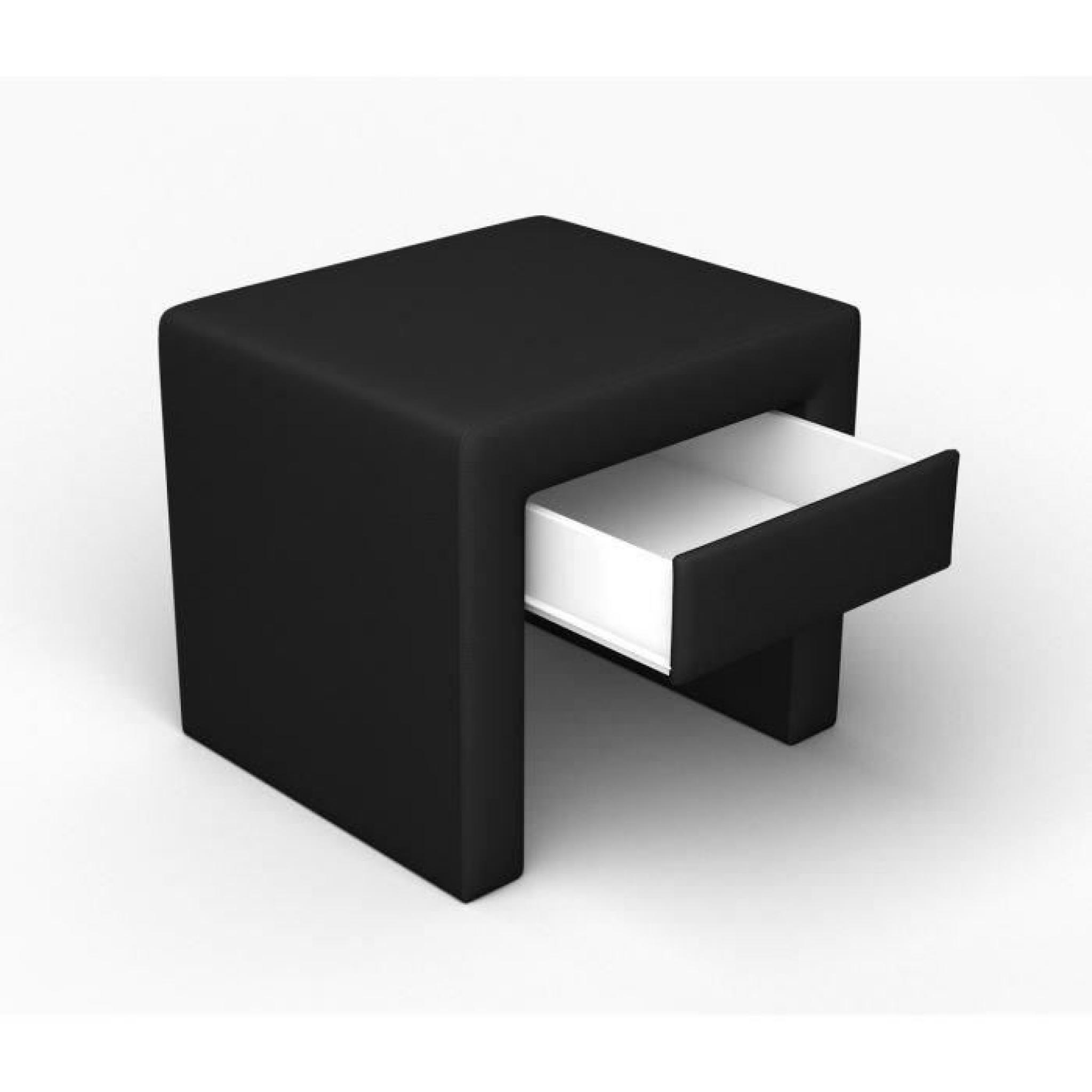 finlandek chevet pass tiroir simili noir achat vente table de chevet pas cher couleur et. Black Bedroom Furniture Sets. Home Design Ideas