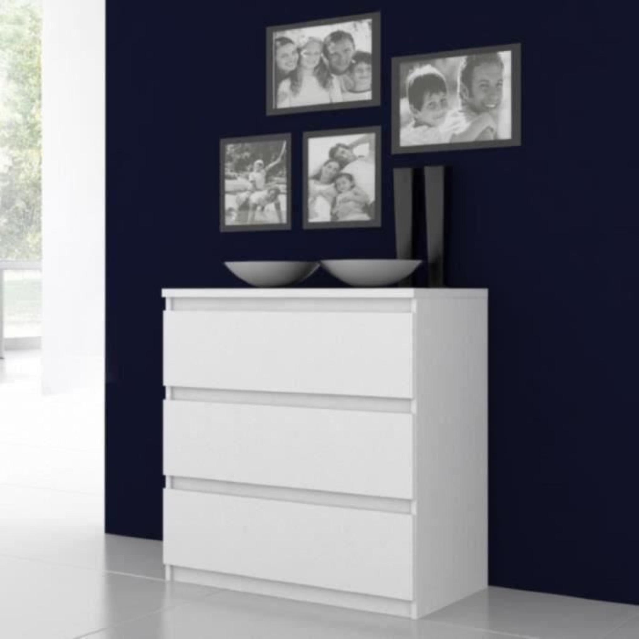 FINLANDEK Commode NATTI 77 x 80 x 42 cm blanc brillant - Achat/Vente ...