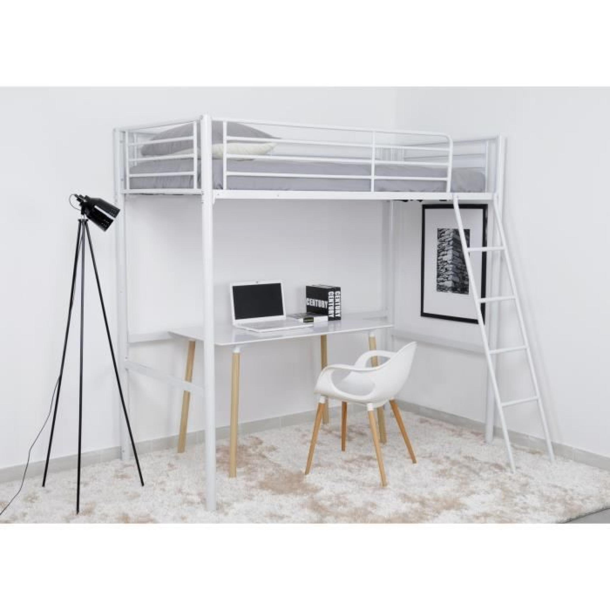 finlandek lit mezzanine adulte 90x190 cm m tal blanc leijona achat vente lit superpose pas. Black Bedroom Furniture Sets. Home Design Ideas