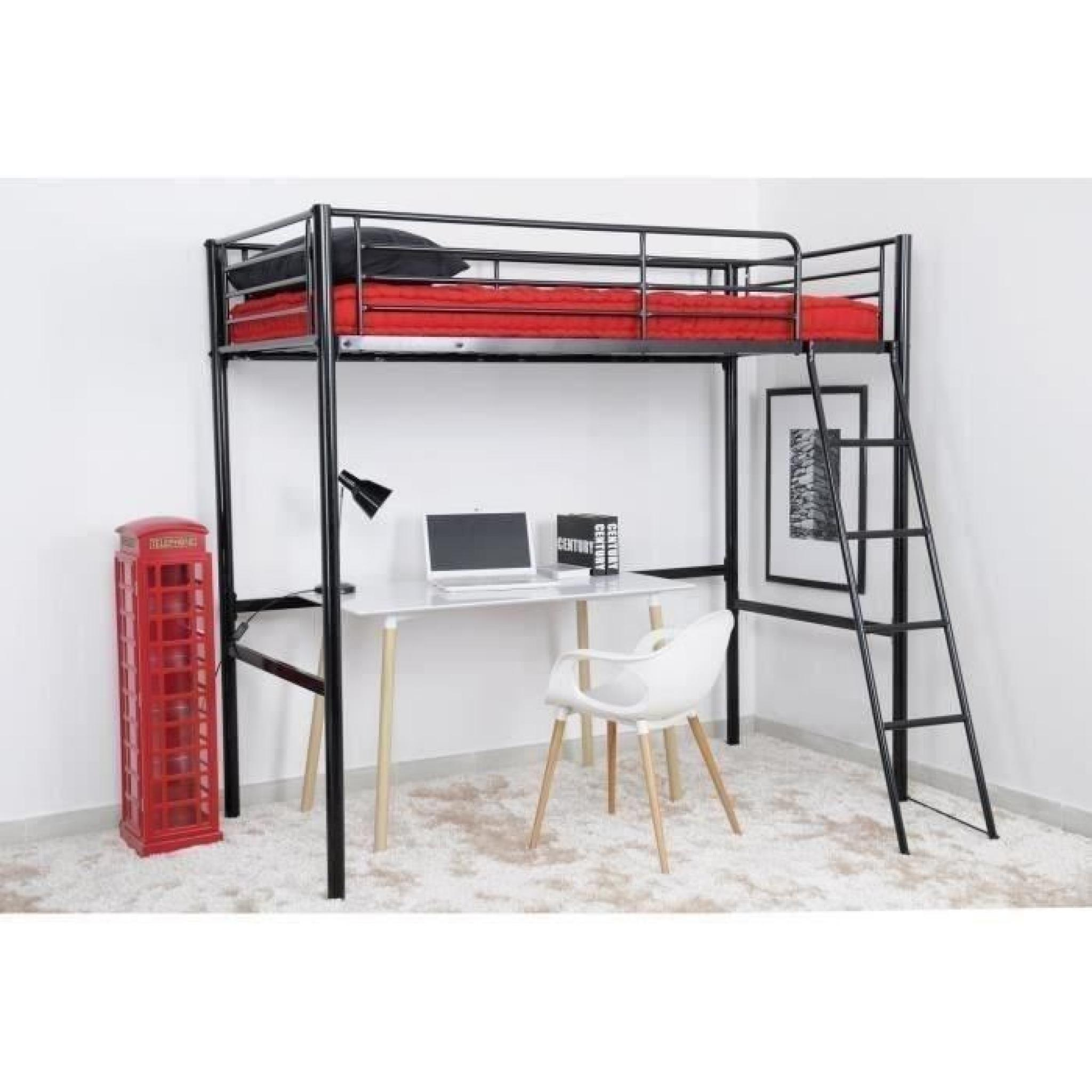 finlandek lit mezzanine adulte 90x190 cm m tal noir leijona achat vente lit superpose pas cher. Black Bedroom Furniture Sets. Home Design Ideas