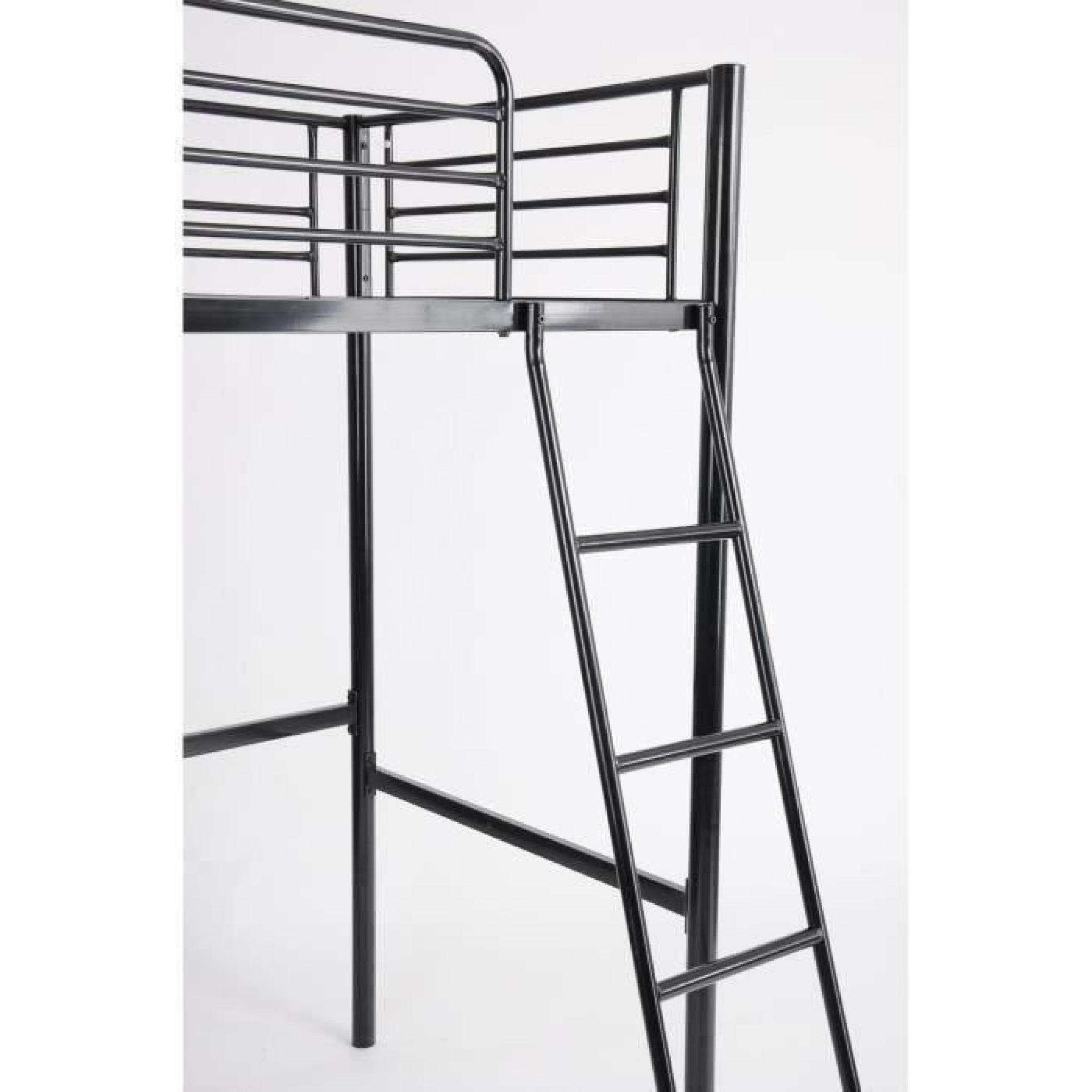 finlandek lit mezzanine adulte 90x190 cm m tal noir. Black Bedroom Furniture Sets. Home Design Ideas