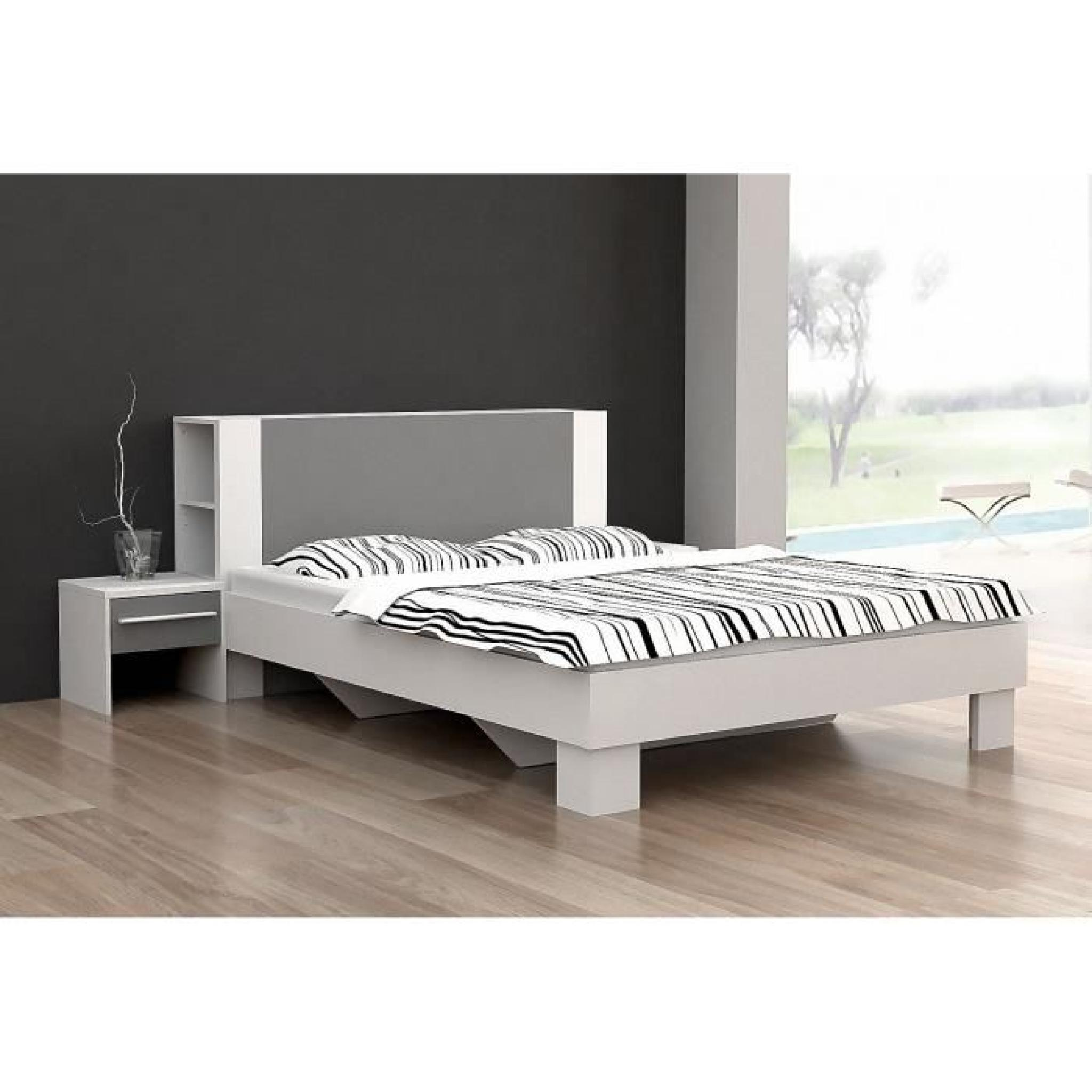 finlandek lit pehme 140x190cm blanc gris achat vente lit pas cher couleur et. Black Bedroom Furniture Sets. Home Design Ideas