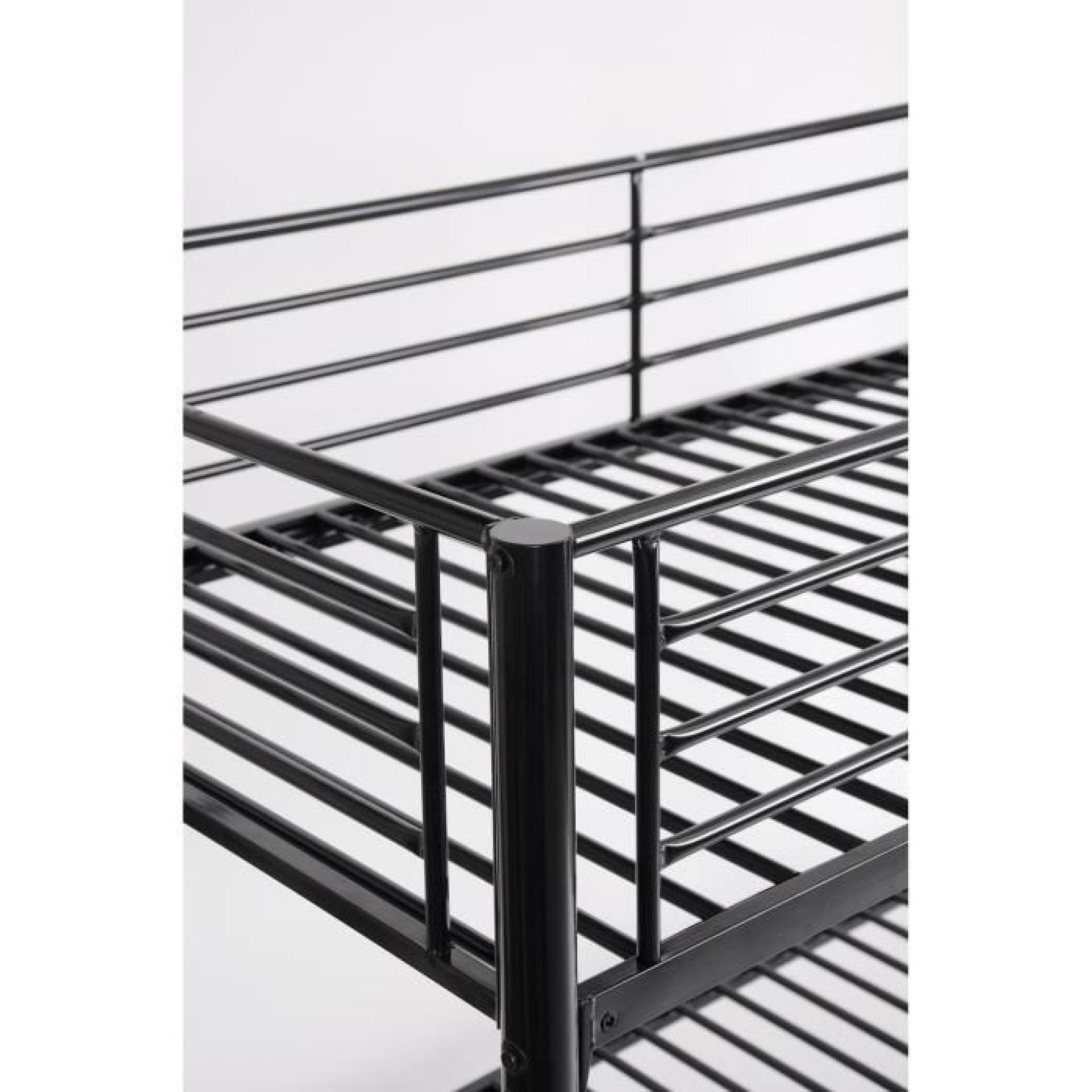 finlandek lit superpos double 90x140cm noir leijona. Black Bedroom Furniture Sets. Home Design Ideas