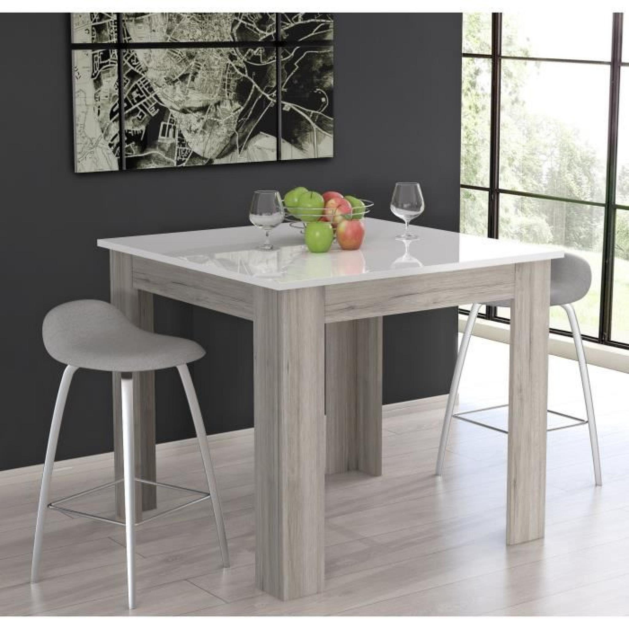 finlandek table de bar tietti 110x110cm laqu blanc brillant et d cor ch ne cendr achat. Black Bedroom Furniture Sets. Home Design Ideas