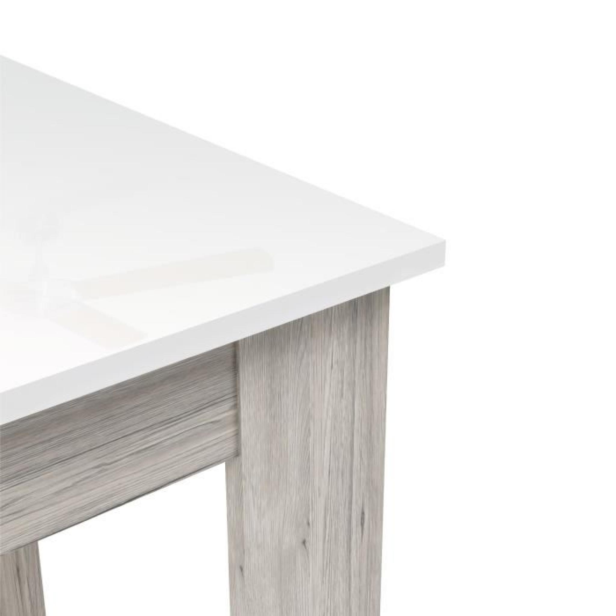 FINLANDEK Table de bar TIETTI 110x110cm - Laqué blanc brillant et ...