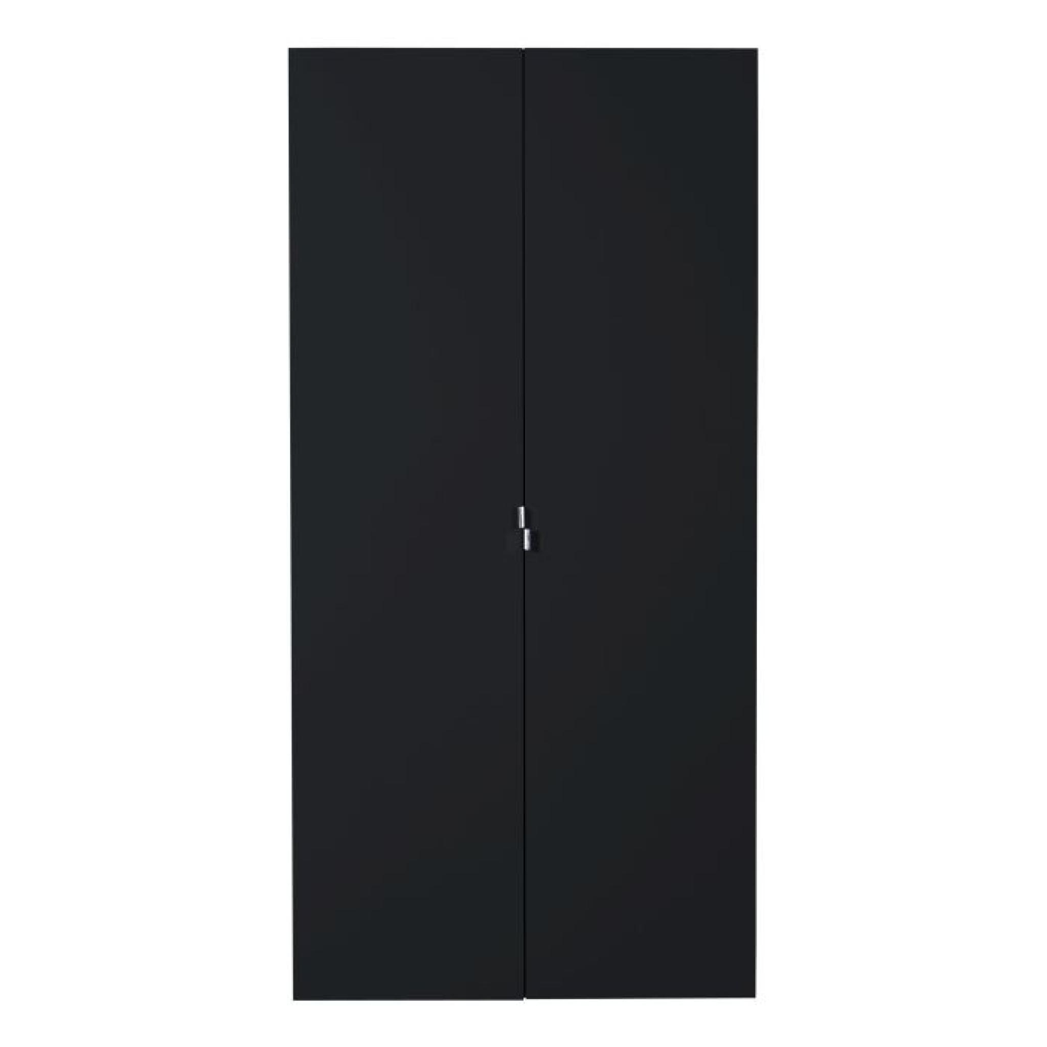 First Armoire 2 Portes Laquee Noire Achat Vente Armoire De