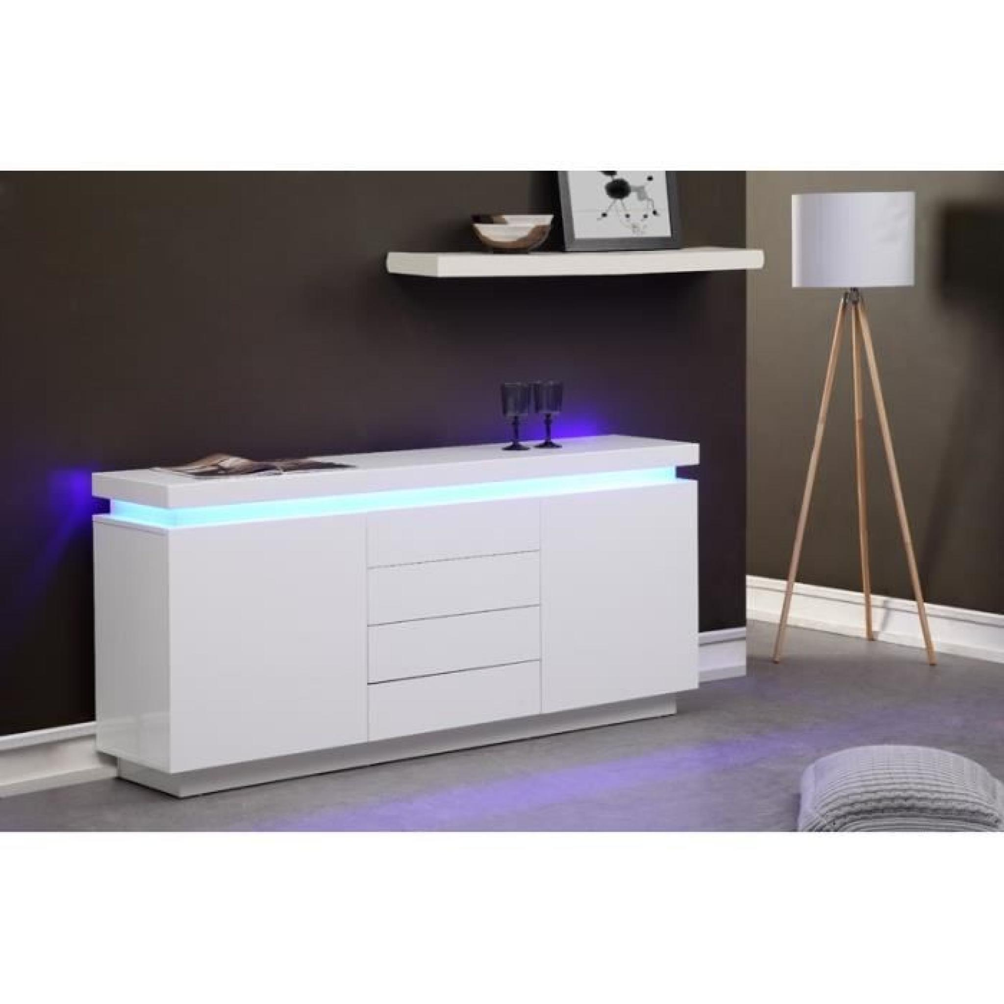 flash buffet 175cm blanc laqu avec led bleue achat vente buffet pas cher couleur et. Black Bedroom Furniture Sets. Home Design Ideas