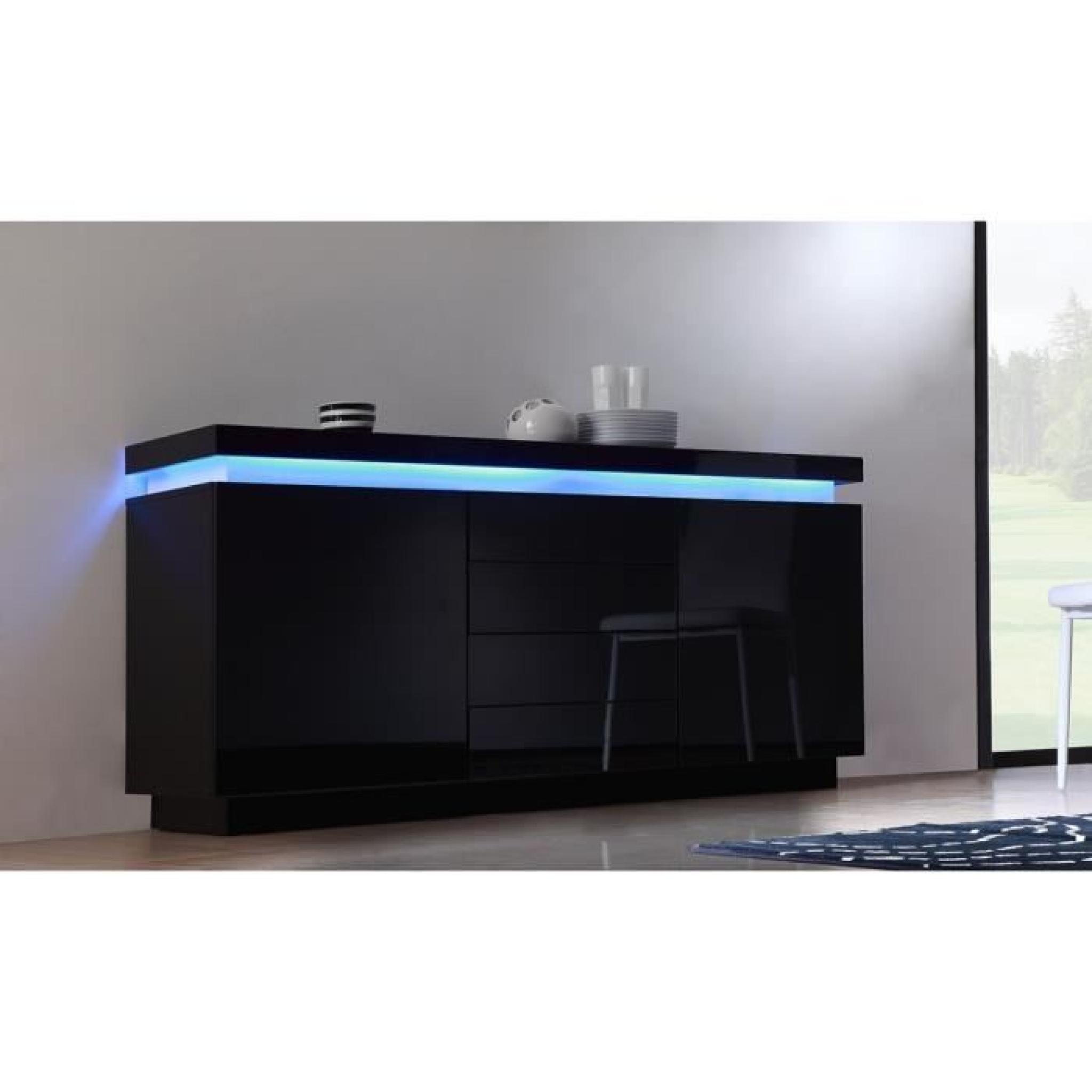 flash buffet laqu noir 175cm avec leds multicolores achat vente buffet pas cher couleur et. Black Bedroom Furniture Sets. Home Design Ideas