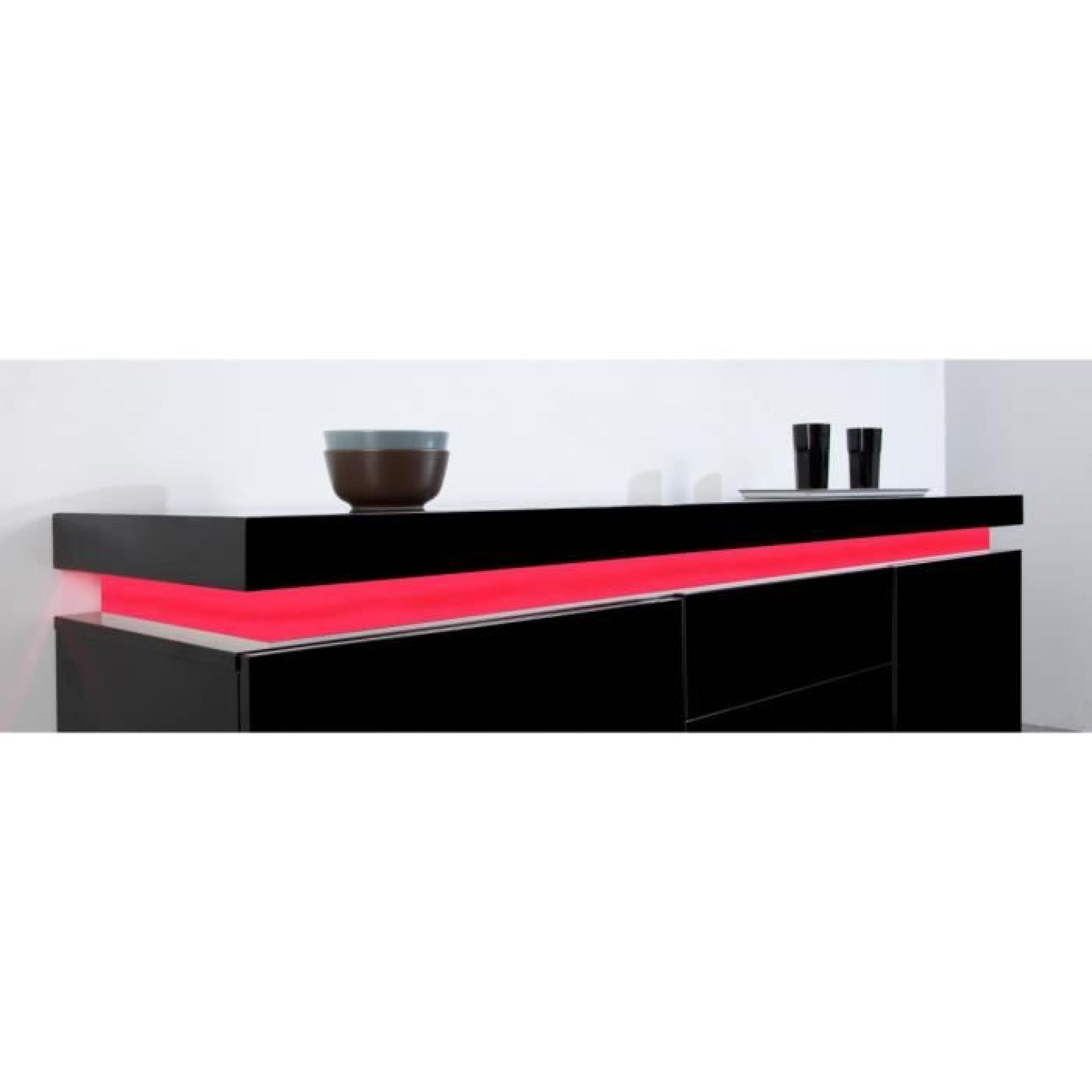 Flash buffet laqu noir 175cm avec leds multicolores for Buffet noir
