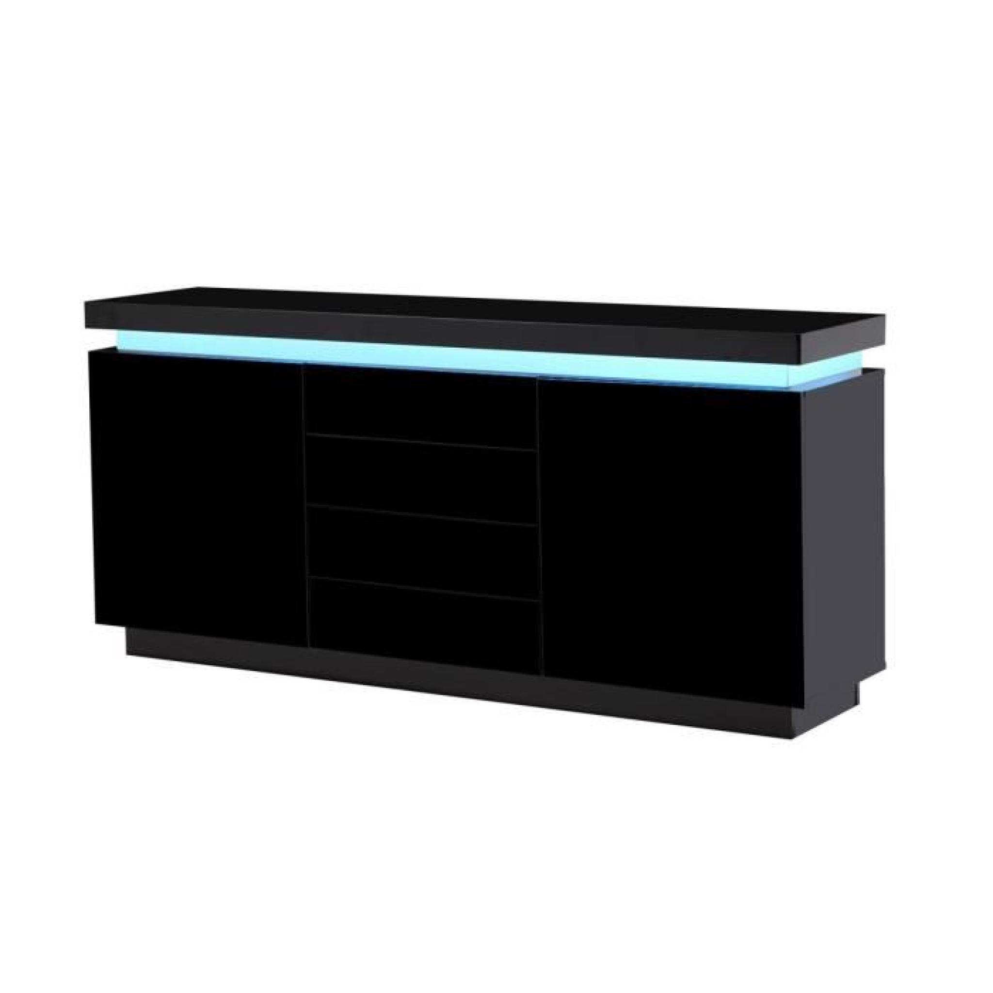 flash buffet laqu noir 175cm avec leds multicolores. Black Bedroom Furniture Sets. Home Design Ideas