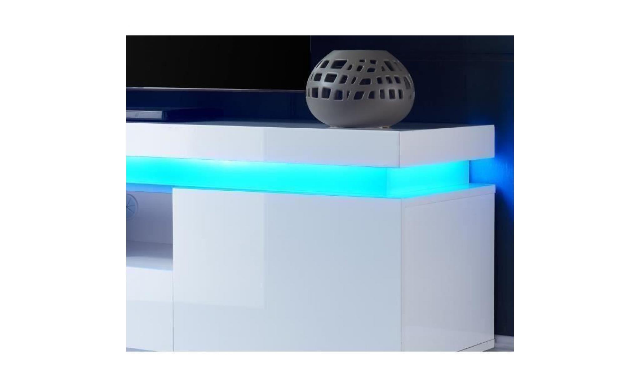 Flash Meuble Tv Avec Led Contemporain Blanc Laque Brillant L 165 Cm Achat Vente Meuble Tv Pas Cher Couleur Et Design Fr