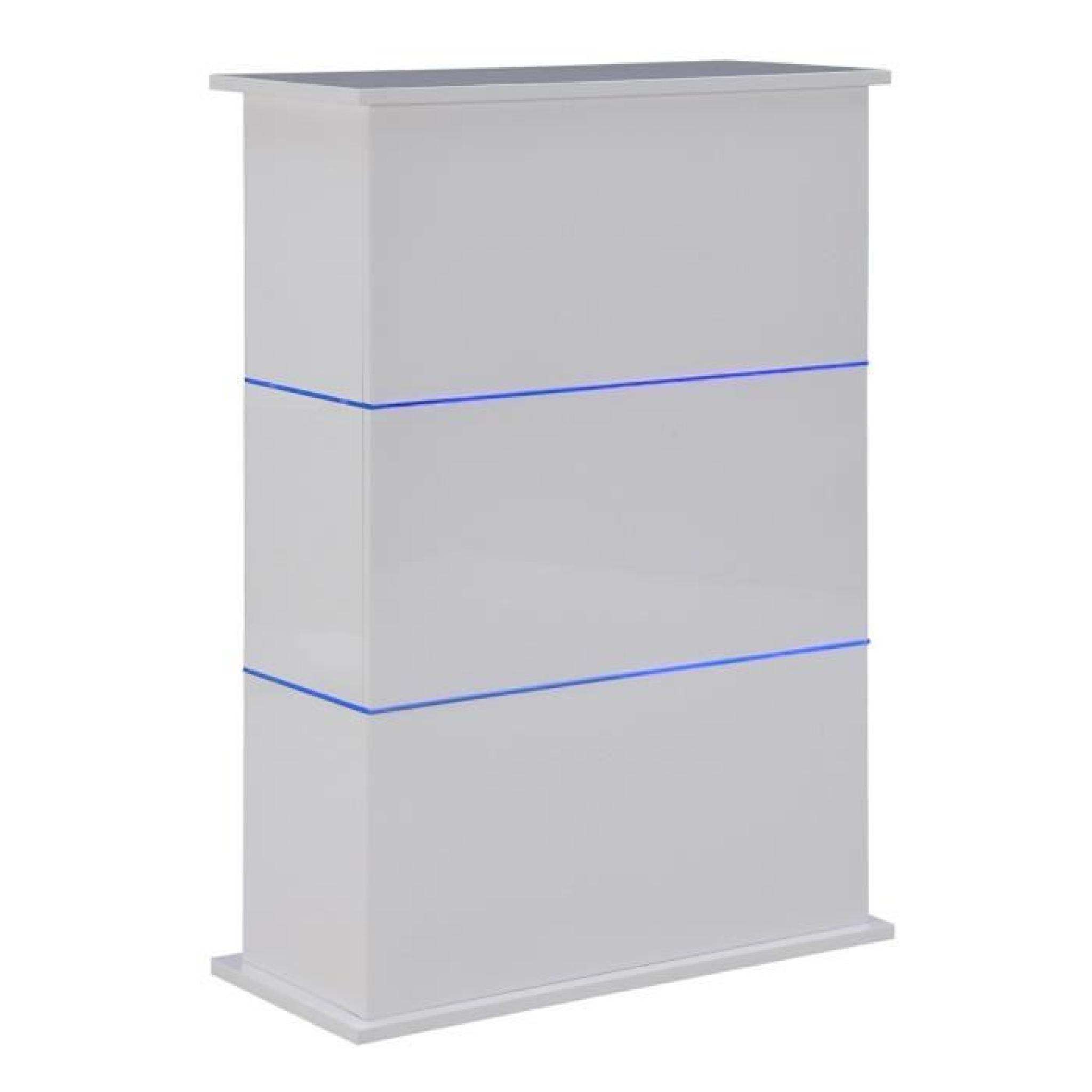 Flash Table Bar 80x34x110 Cm Laque Blanc Brillant Avec Led Bleu