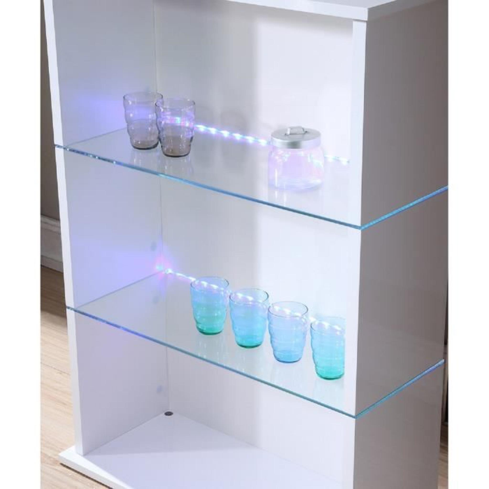 FLASH Table bar 80x34x110 cm - Laqué blanc brillant avec led bleu ...