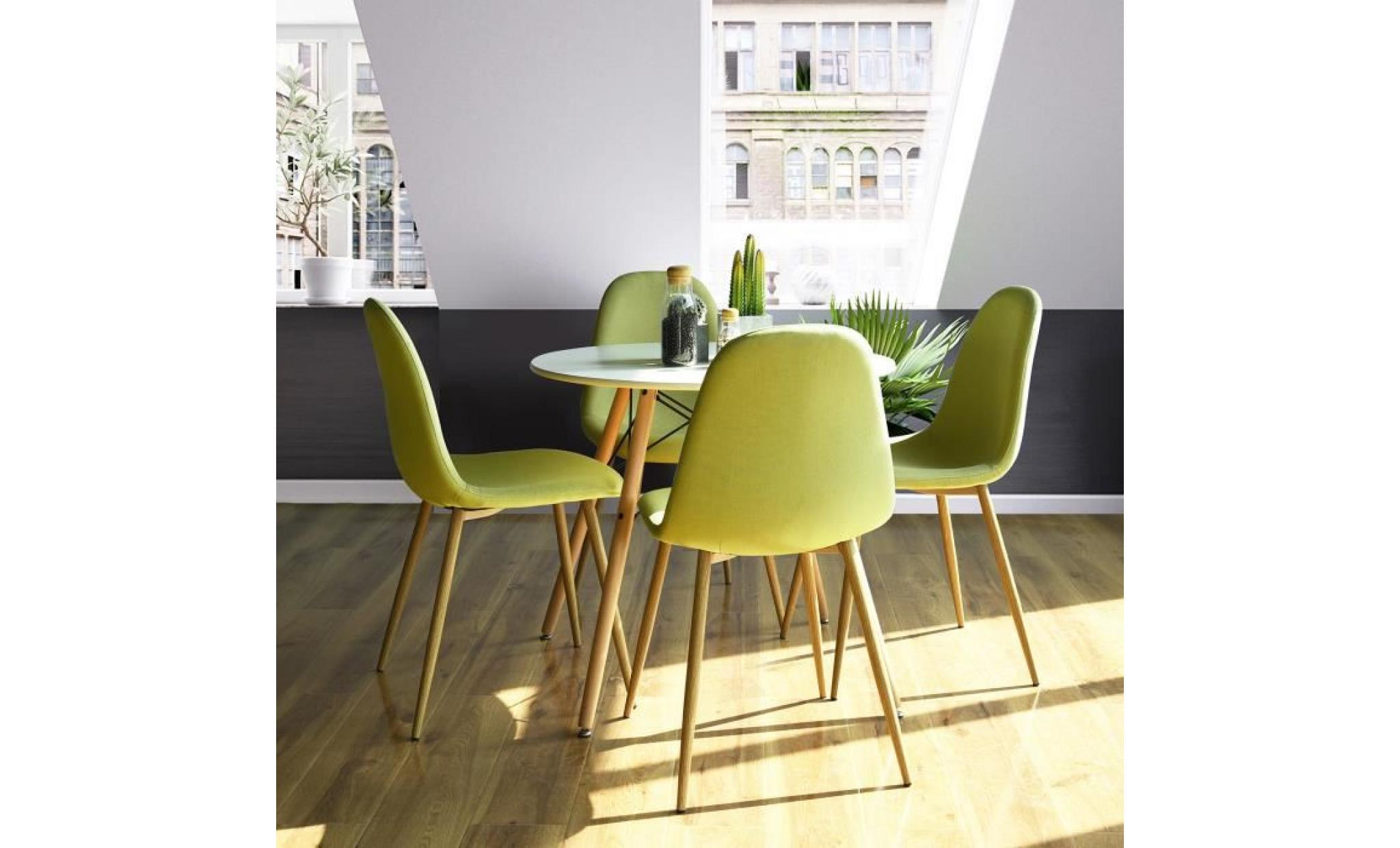 homy casa lot de 4 chaises de salle à manger en tissu chaises de salon pieds en métal,gris