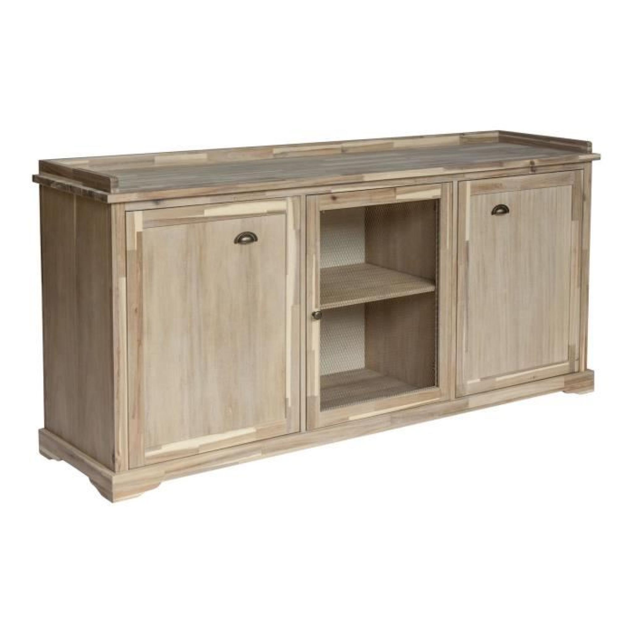 gaston meuble buffet bas en acacia massif avec porte grillag e achat vente buffet pas cher. Black Bedroom Furniture Sets. Home Design Ideas