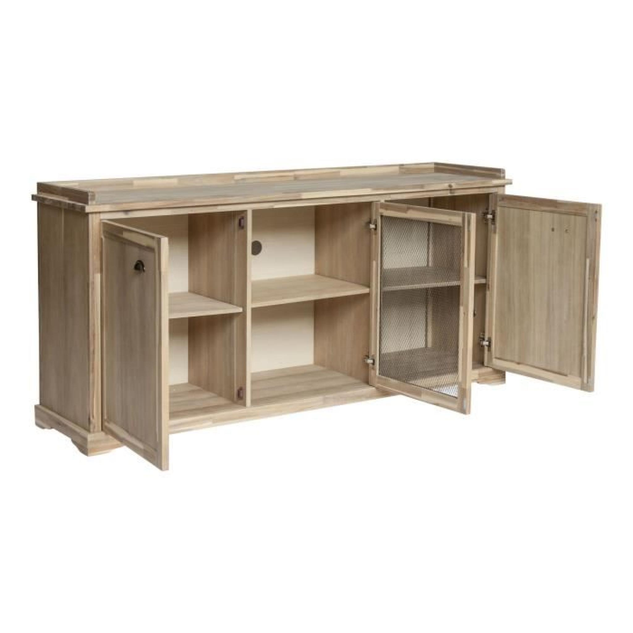 Gaston meuble buffet bas en acacia massif avec porte for Meuble buffet bas