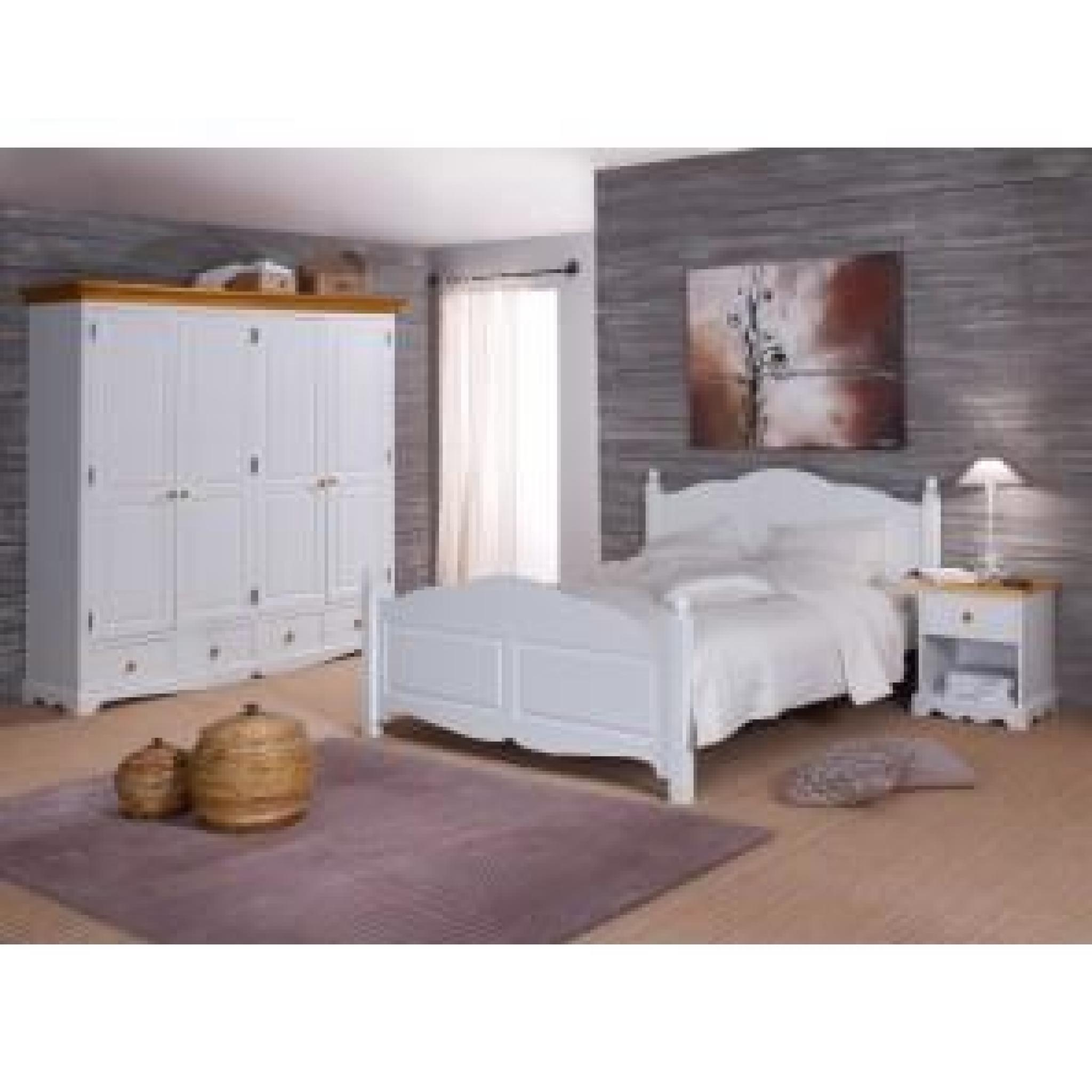 grande armoire penderie blanche et miel achat vente. Black Bedroom Furniture Sets. Home Design Ideas