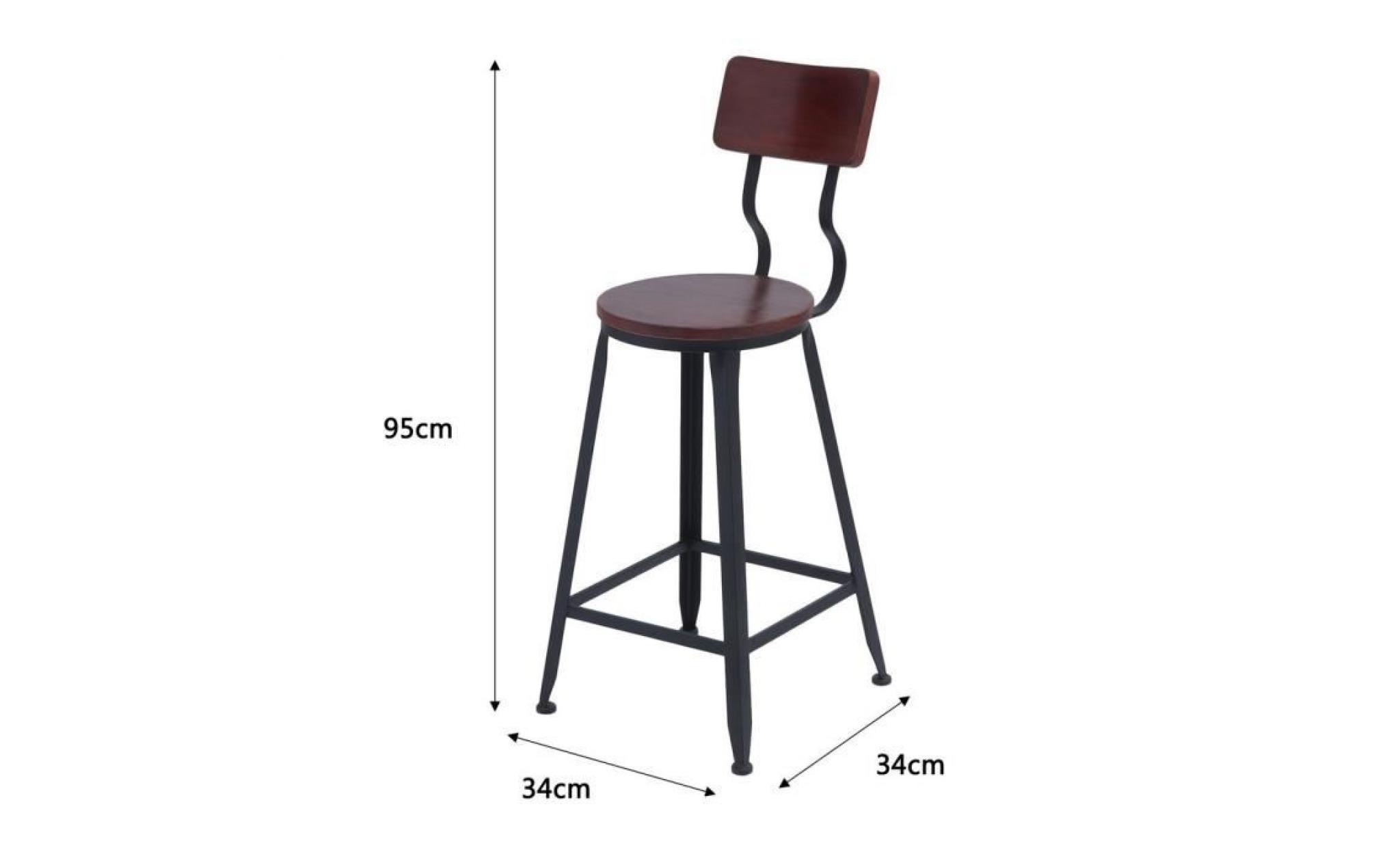 salle haut chaise de avec 4 bar bois manger vintage tabouret de fer pieds dossier bar à et KJl1TFc